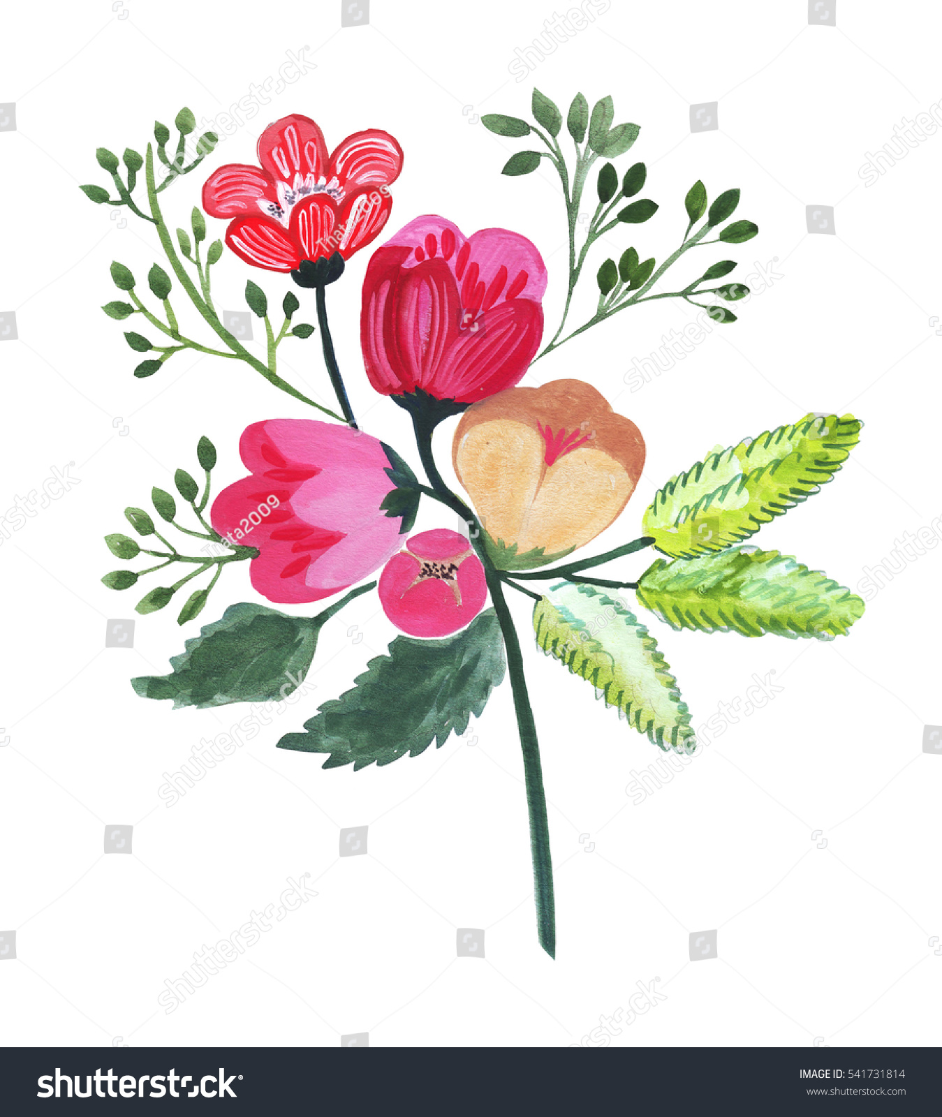 Illustration Pencil Drawing Bouquet Flowers Bright Stock ...