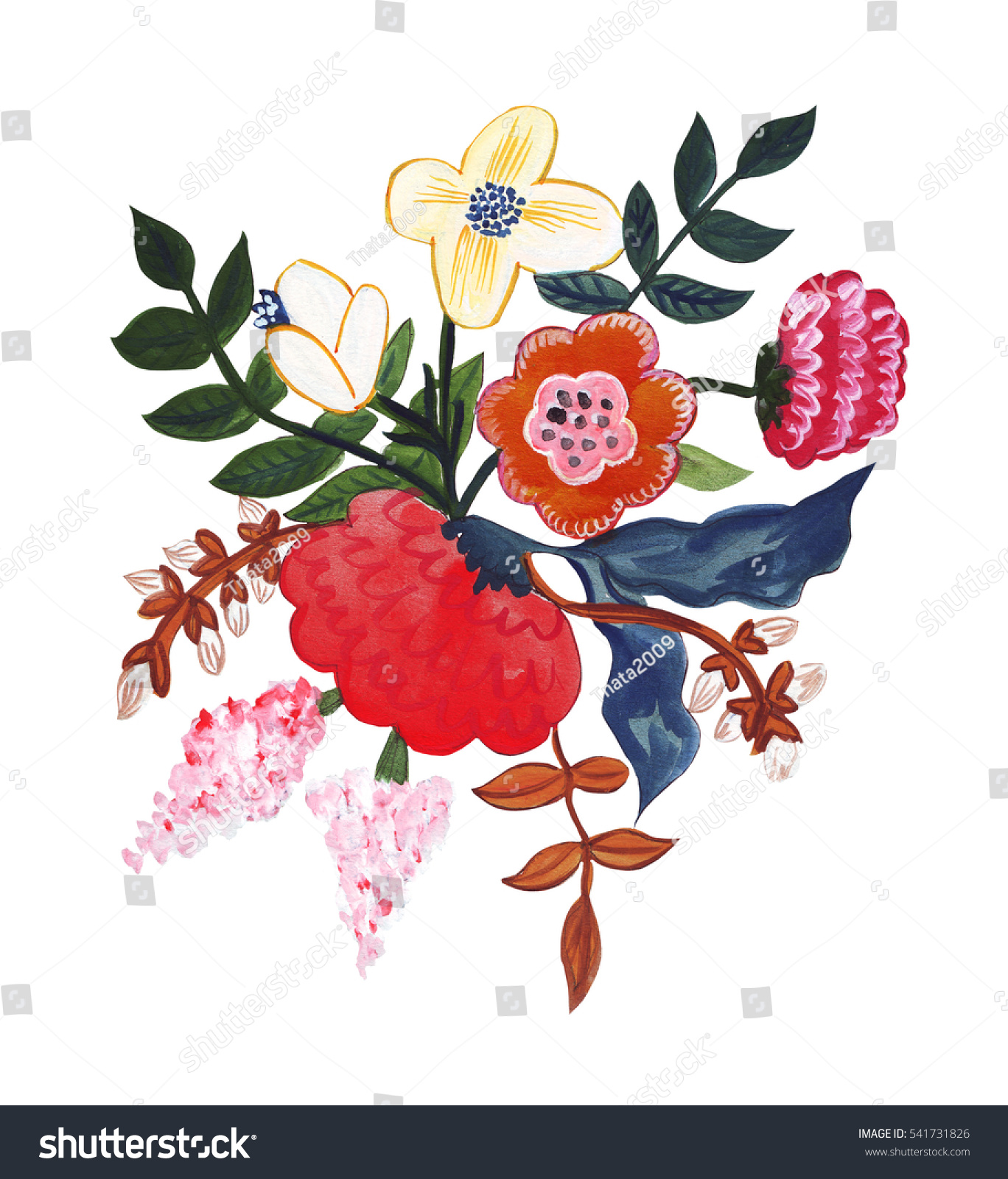 Illustration pencil drawing bouquet flowers bright stock illustration of pencil drawing bouquet flowers in bright colors for various types of isolated izmirmasajfo