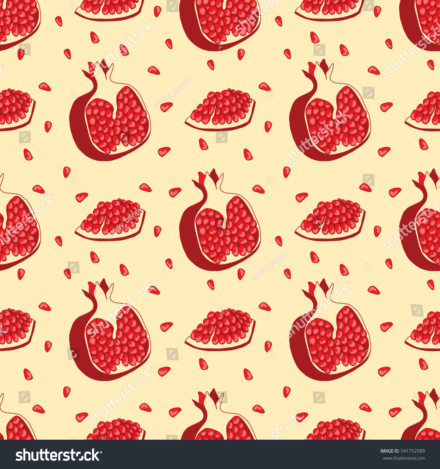Seamless Pattern Hand Drawn Pomegranate Design Stock Vector ...