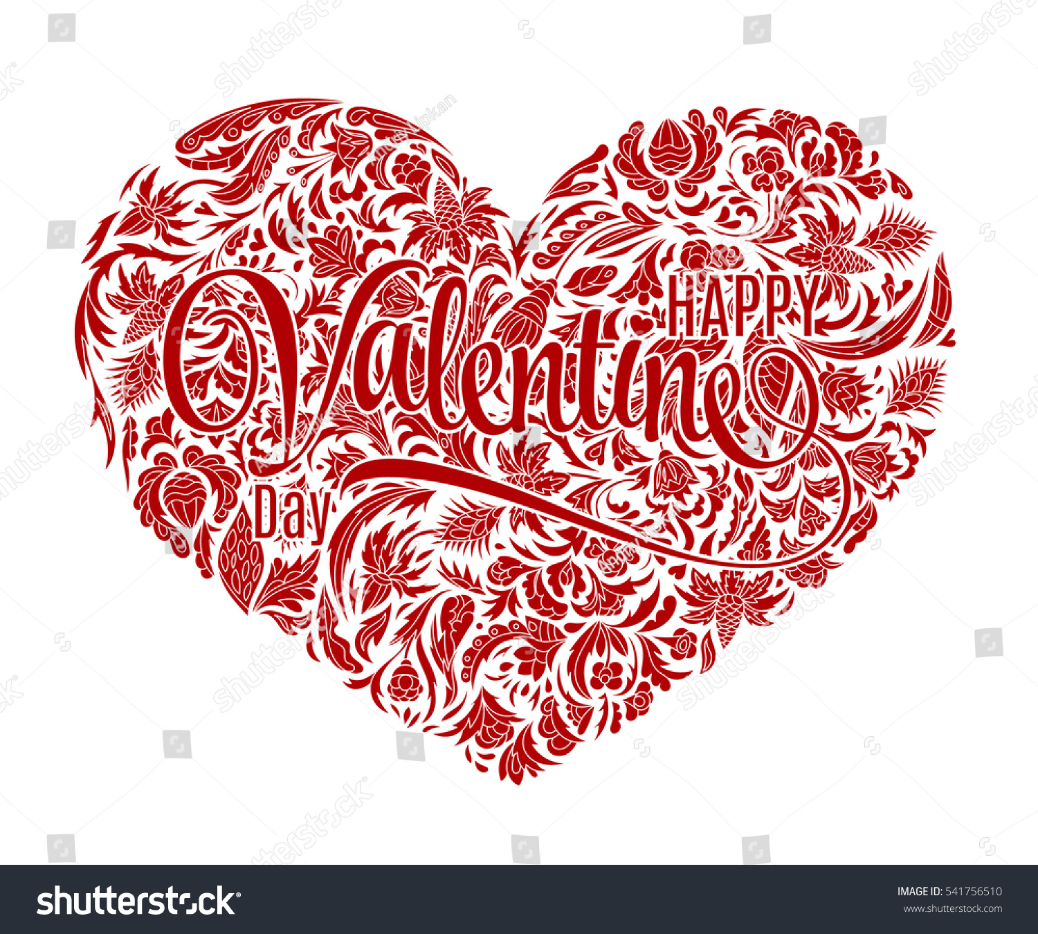 Valentine Heart Doodle Pattern Hand Drawn Stock Illustration