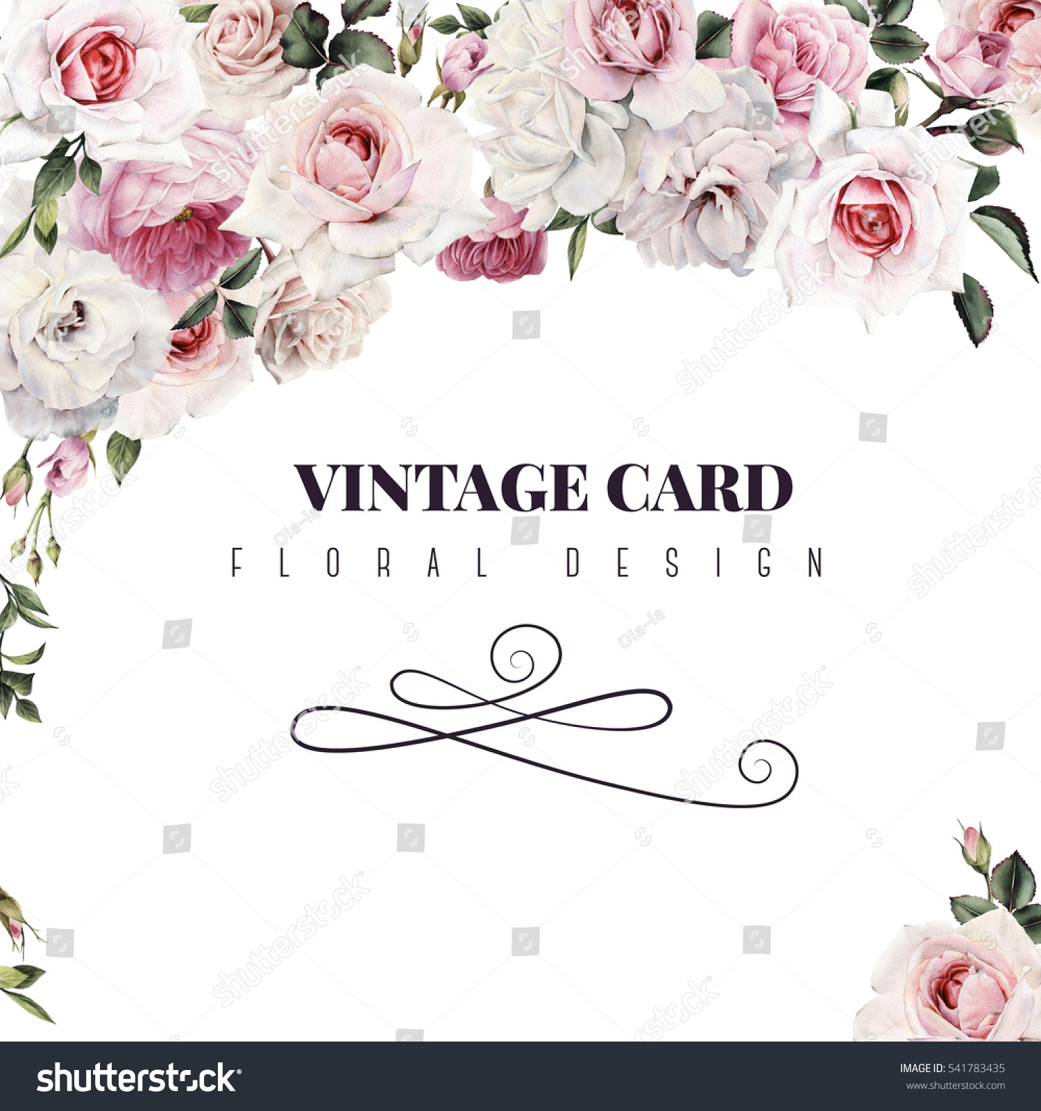 Greeting Card Roses Watercolor Can Be Stock Illustration 541783435