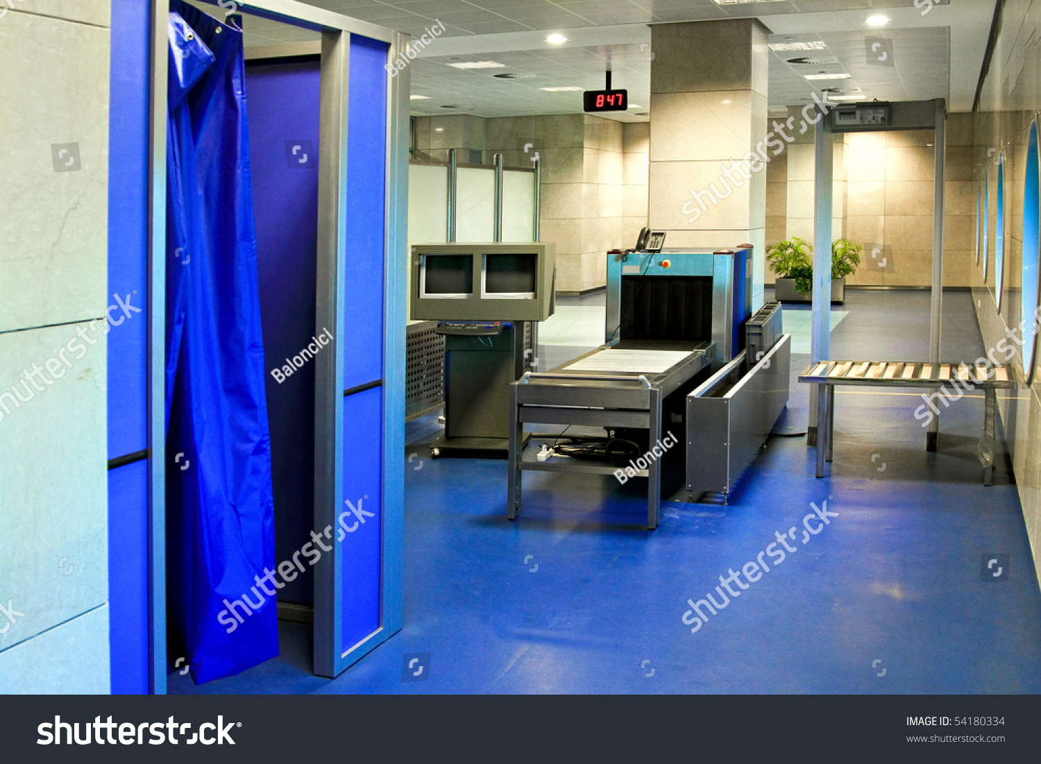 Airport Security Check Strip Search Cabin Stock Photo