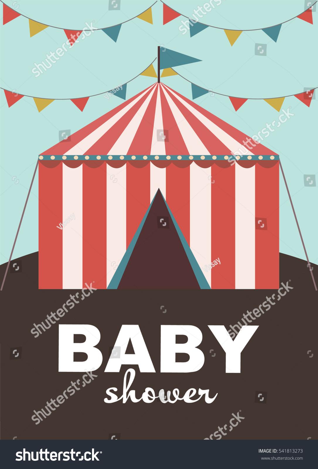 Baby Shower Invitation Card Circus Vector Stock Vector 541813273 ...