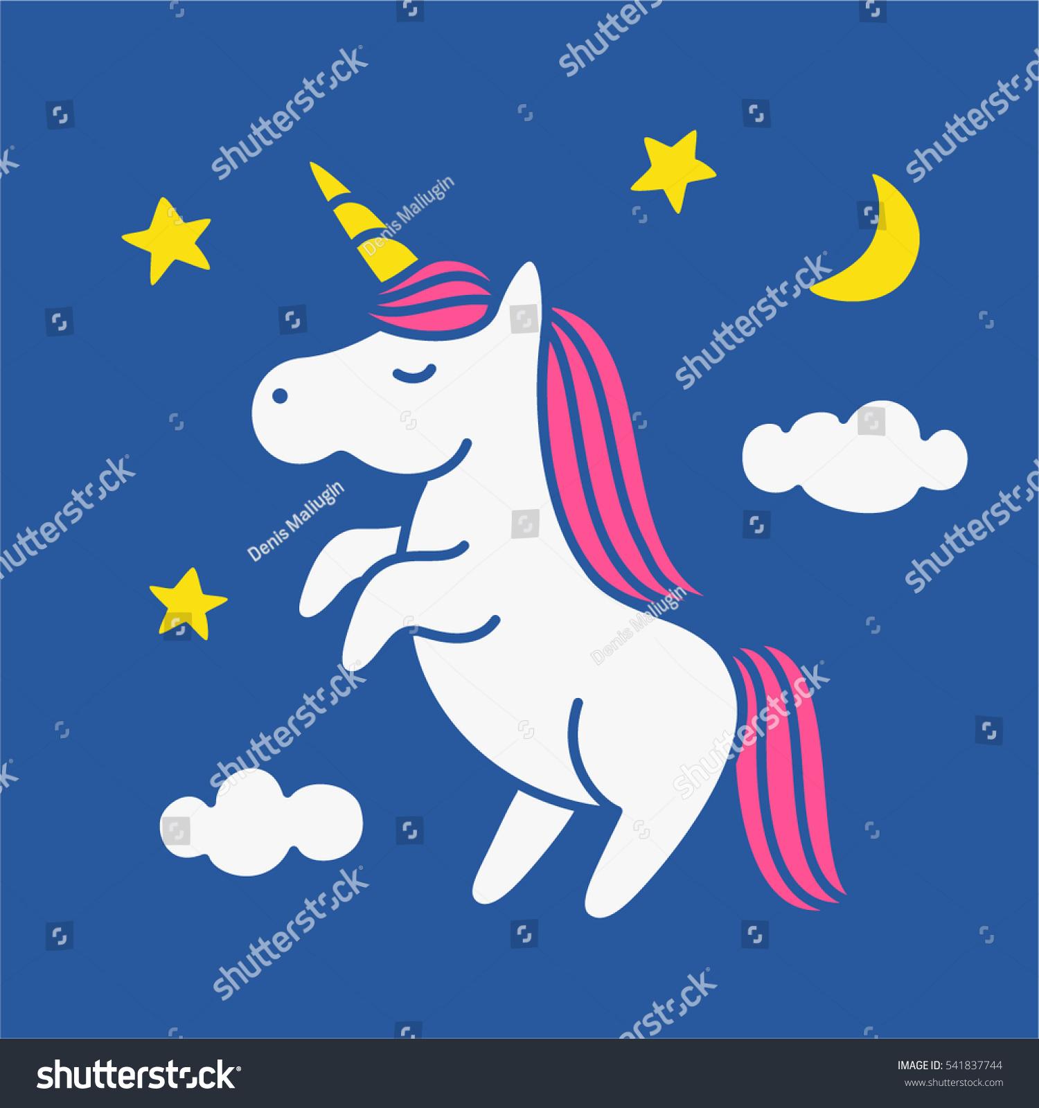 cute magic unicorn on night sky stock vector royalty free rh shutterstock com night sky vector wallpaper free night sky vector illustration