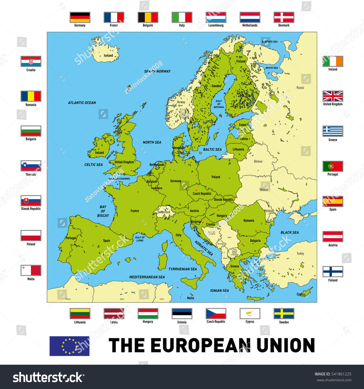 Vector Highly Detailed Political Map European Stock Vector 541861225