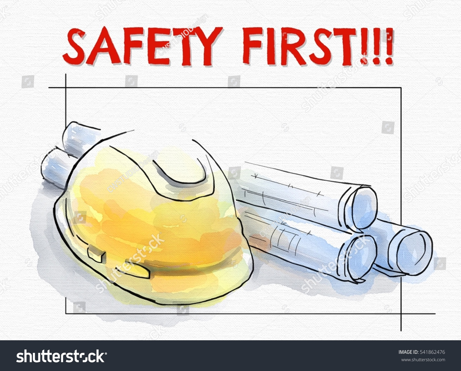 Yellow Hard Hat For Construction And Project Drawing Paper Rolls With Text Safety First