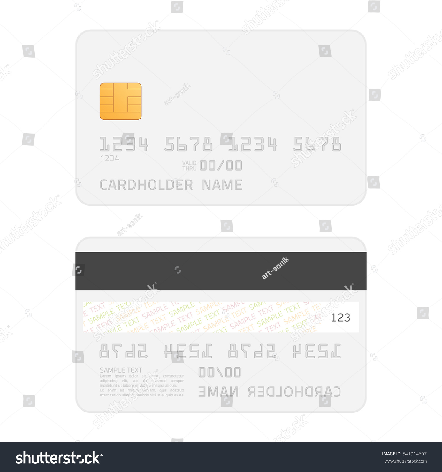 Credit Card Two Sided Realistic Mockup Stock Vector