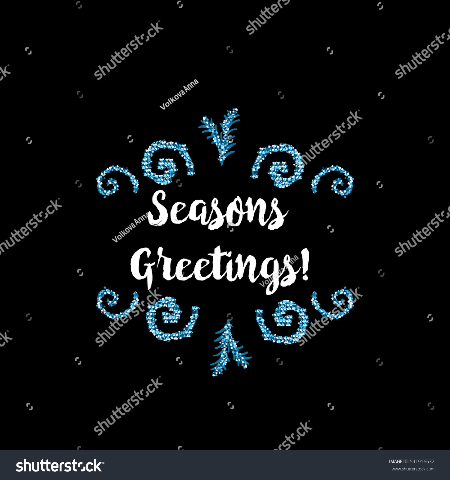 Christmas Greeting Card On Black Background Stock Vector Royalty