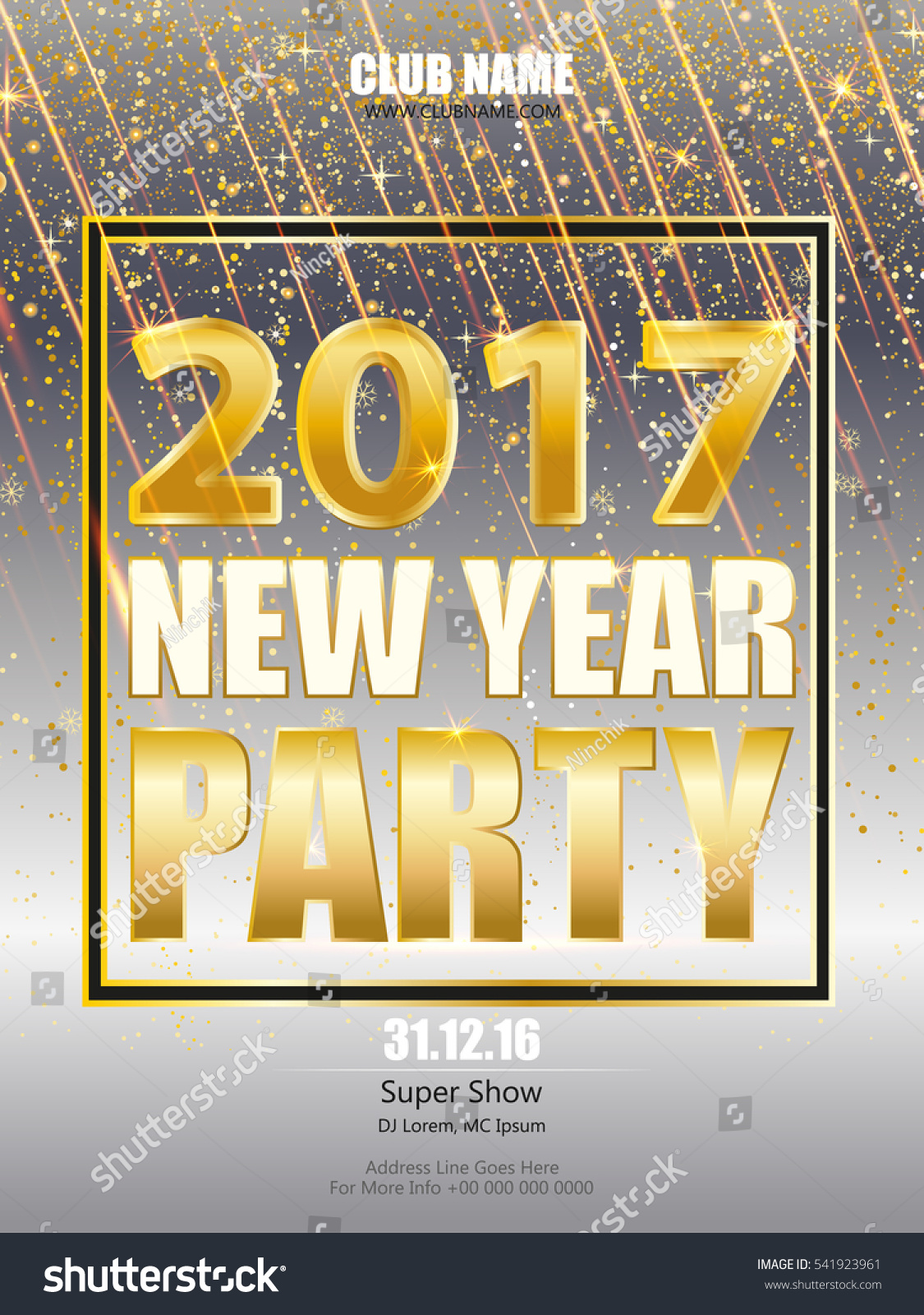 Shiny Flyer, Banner or Pamphlet for New Year's 2017 Eve Party celebration. invitation, poster, greeting card, design template. #541923961