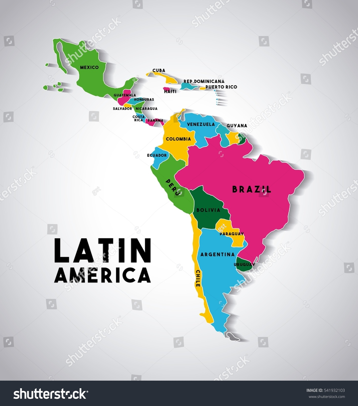 Map latin america countries demarcated different stock for What color is south america