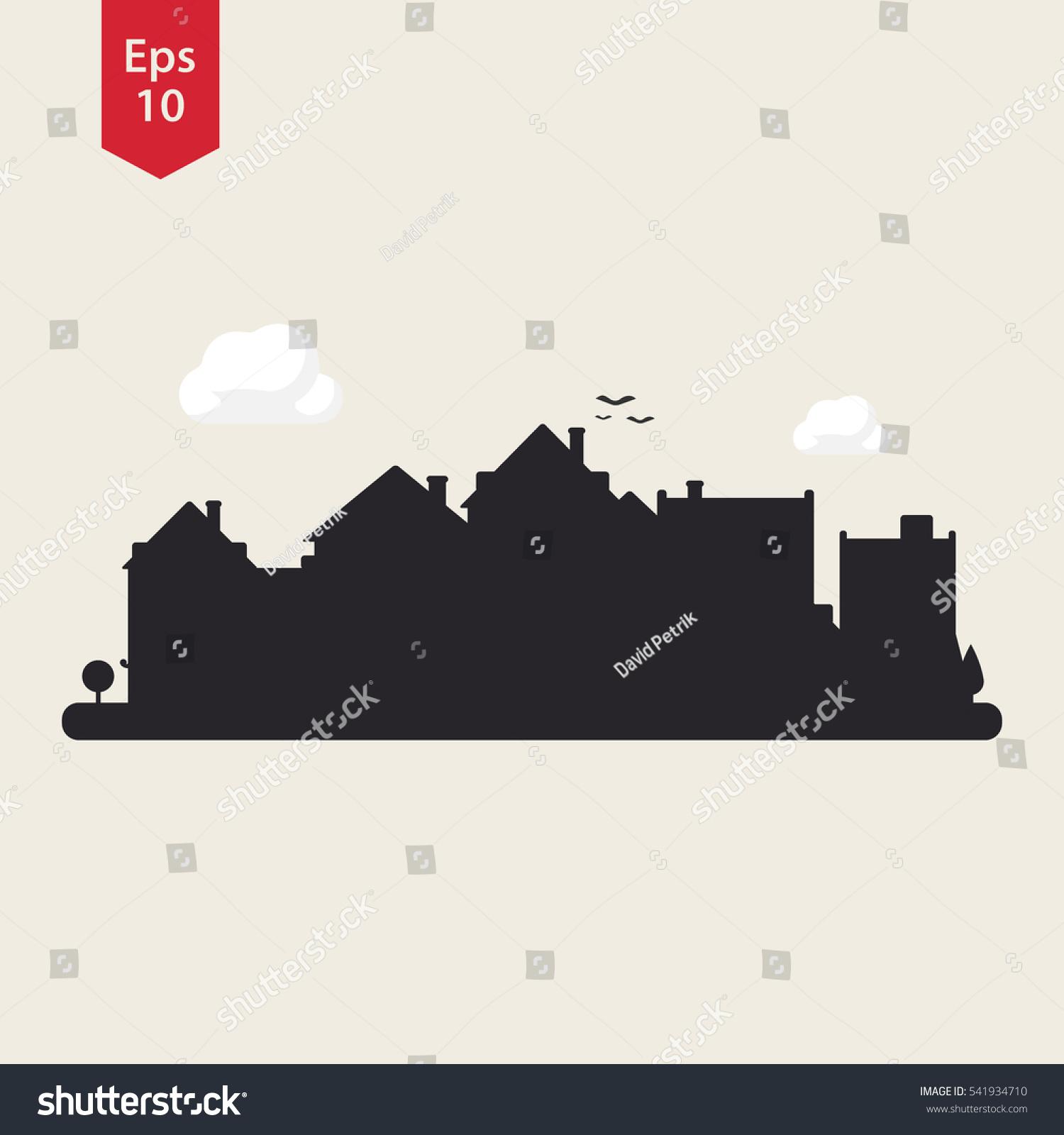 Town Silhouette City Icon Symbol Small Stock Vector