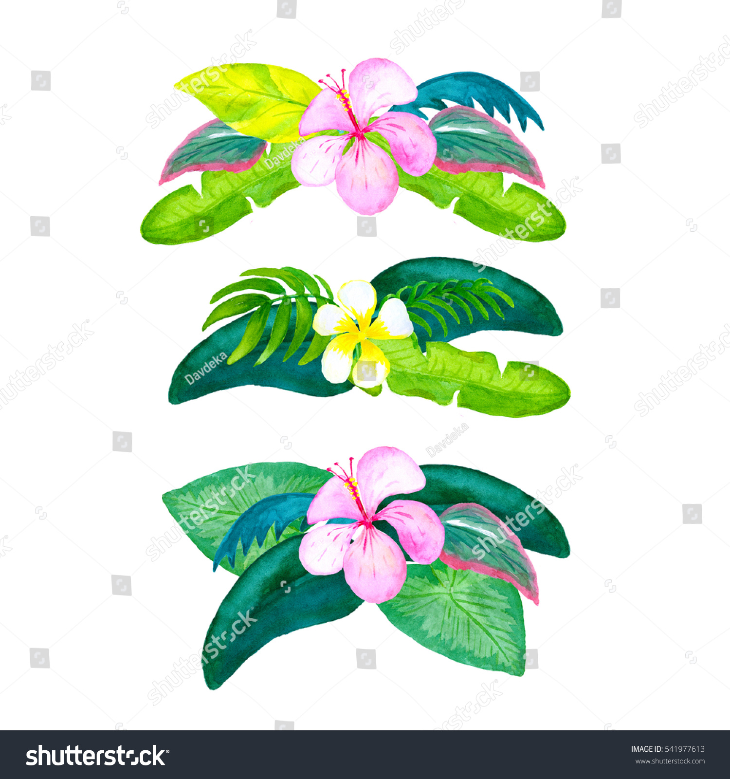 Watercolor Tropical Flower Bouquets Isolated On Stock Illustration ...