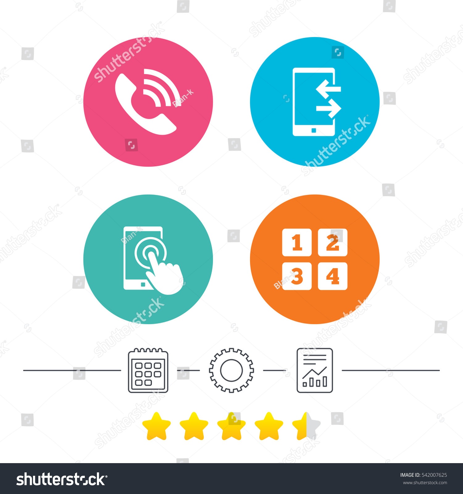 Phone Icons Touch Screen Smartphone Sign Stock Illustration