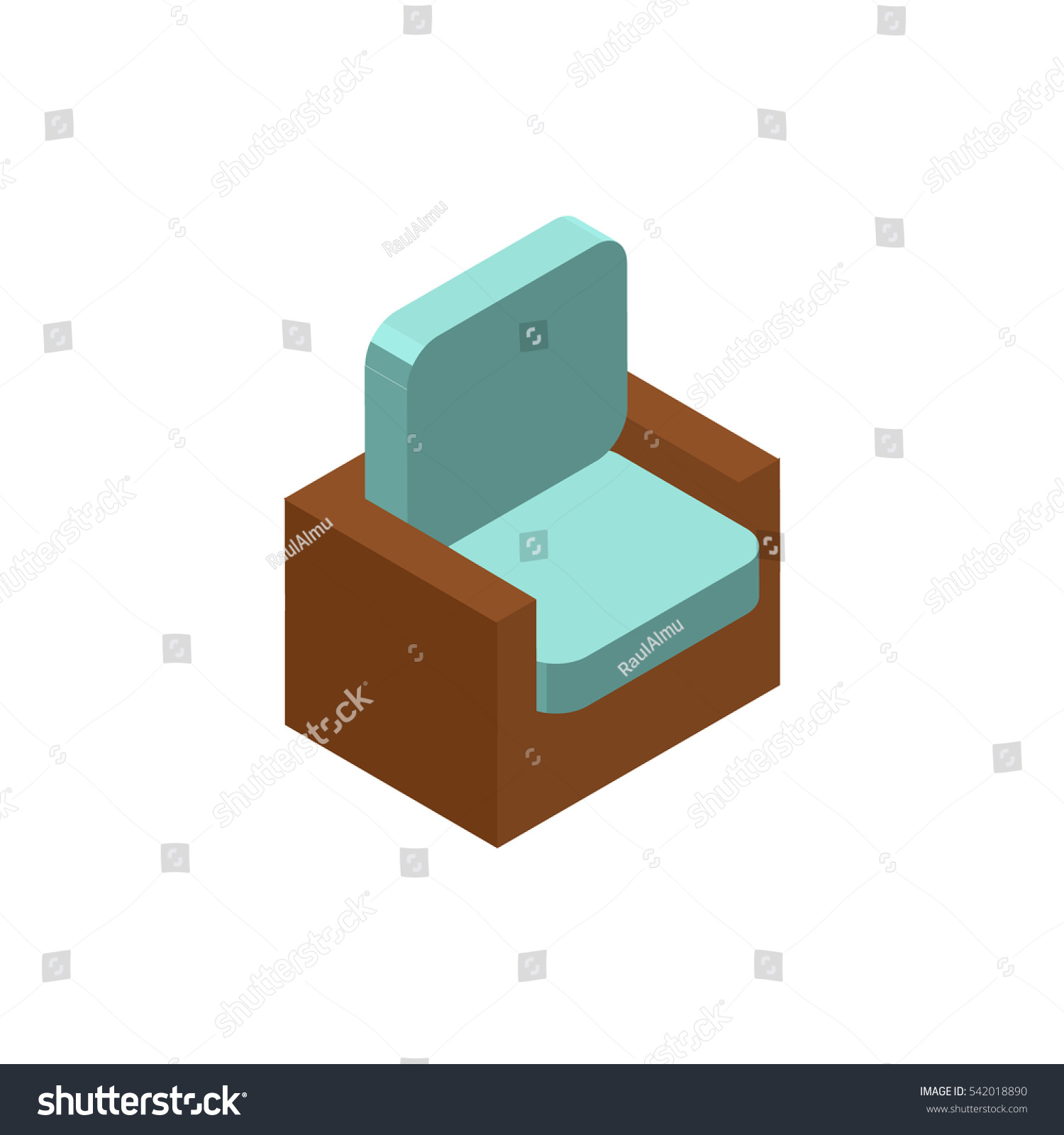 chair isometric icon logo 3d vector stock vector 542018890