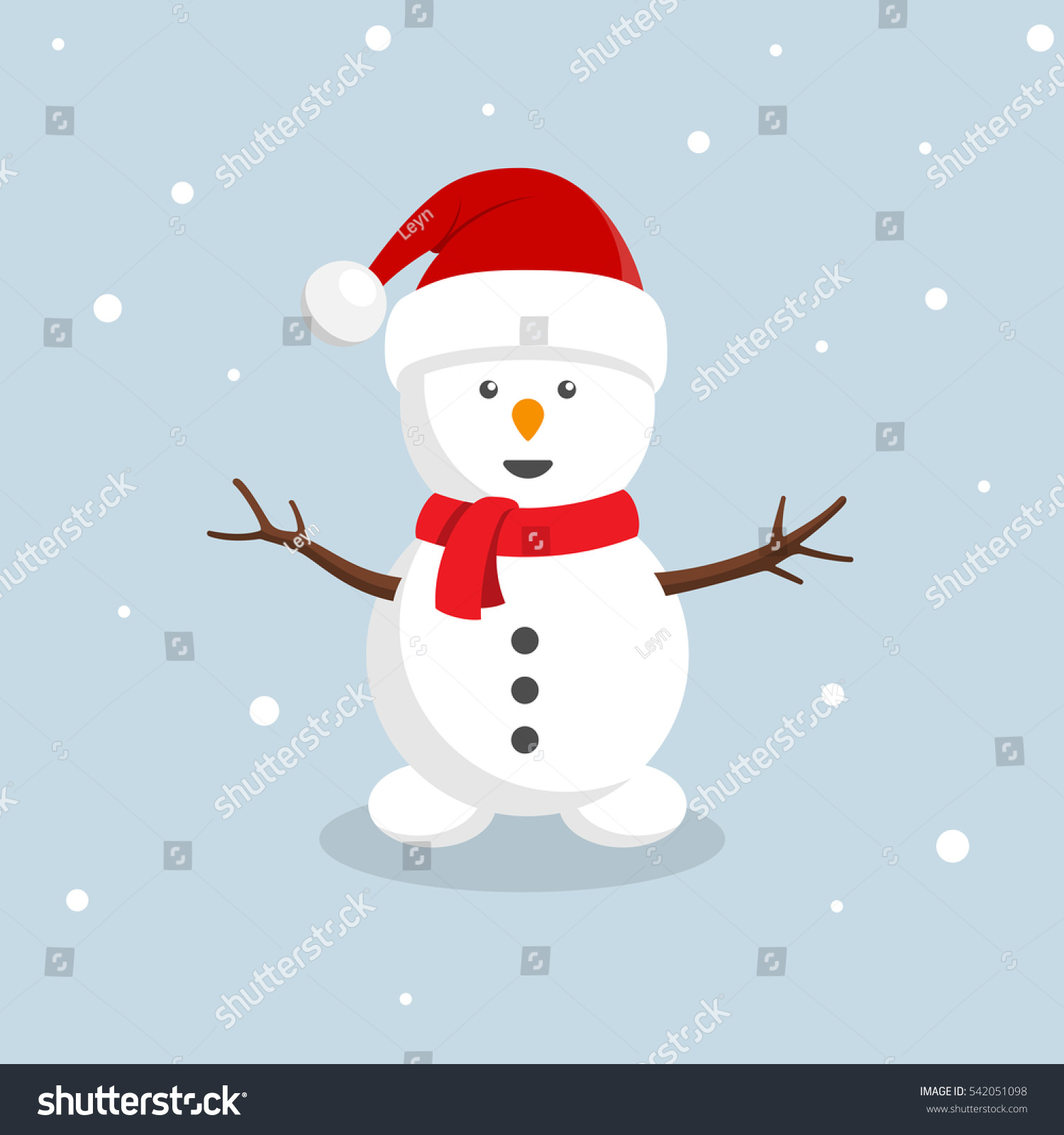 Retro styled Christmas Card with snowman with santa hat - vector ...