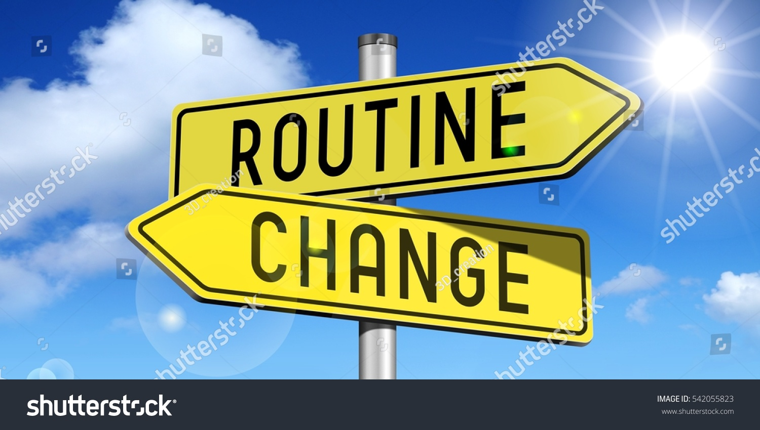 Routine, change - yellow road-sign
