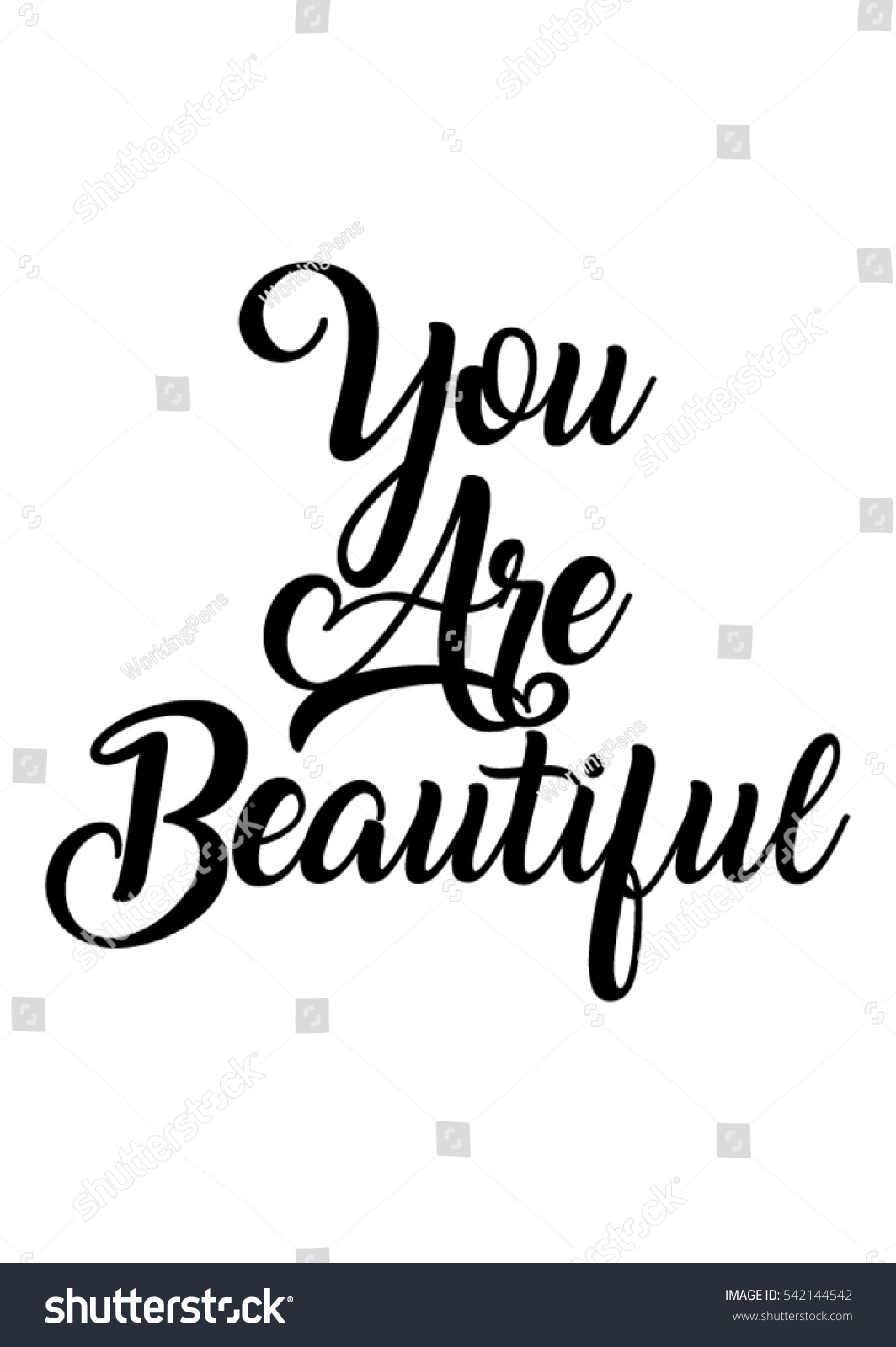 Quotes You Are Beautiful You Beautiful Quote Print Vectorlettering Quotes Stock Vector