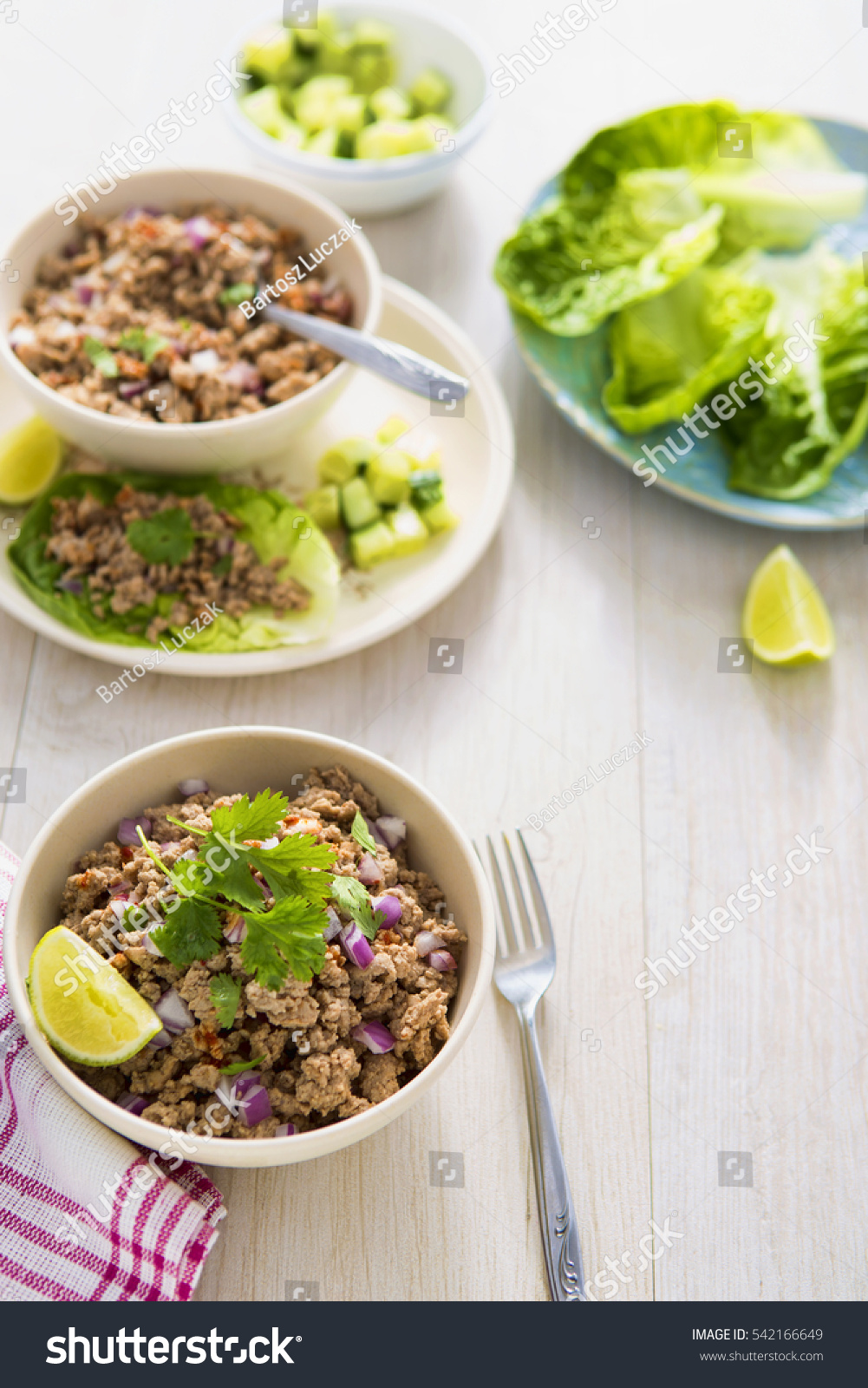 Pork Larb Lettuce Wraps Stock Photo 542166649 - Shutterstock
