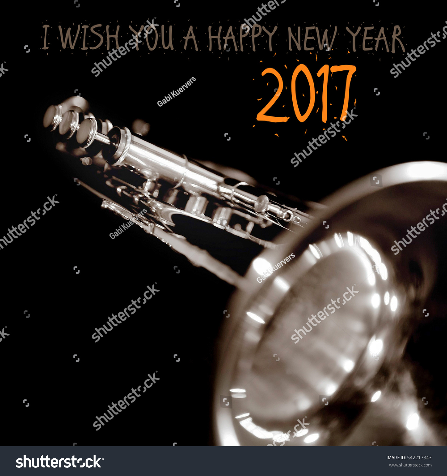 Happy new year 2017 greeting card stock photo 100 legal protection happy new year 2017 a greeting card with a music instrument m4hsunfo