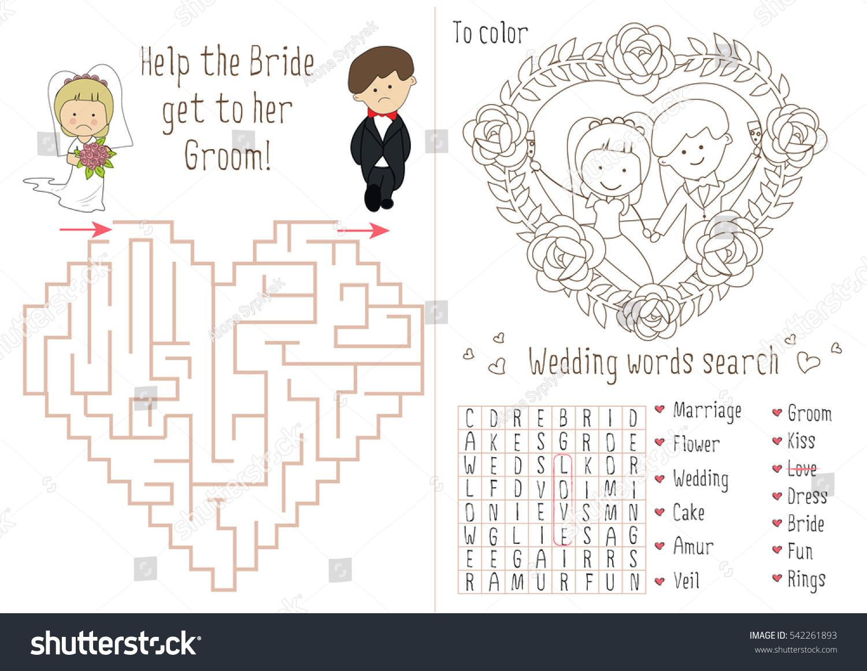 wedding activity book kids maze heart stock vector 542261893