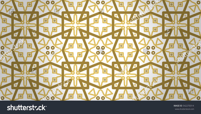 Golden White Geometrical Seamless Pattern Lines Stock Vector
