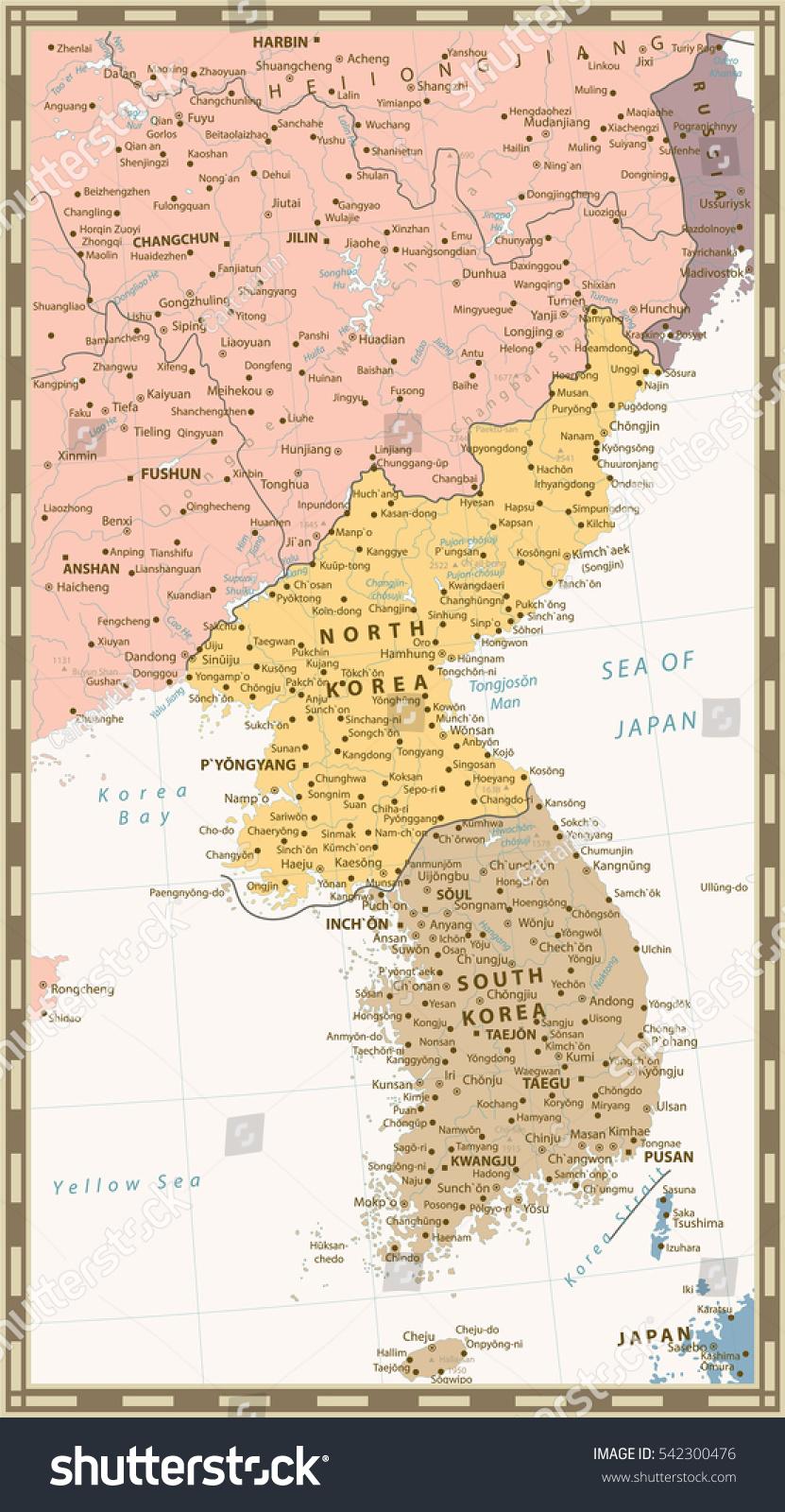 Retro Color Political Map Korean Peninsula Stock Vector - Fengcheng map