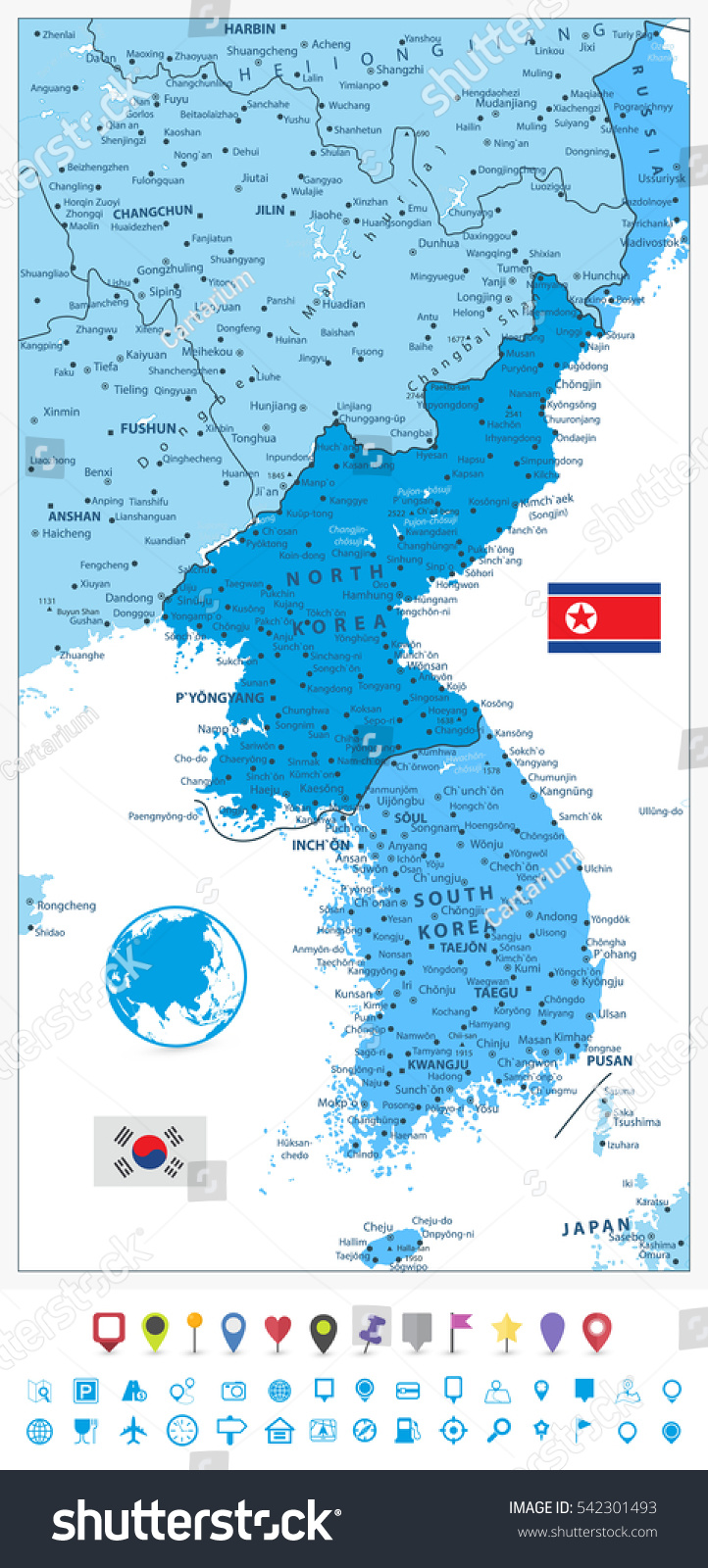 Korean peninsula map colors blue flat stock photo photo vector korean peninsula map in colors of blue and flat navigation icons north and south korea gumiabroncs Gallery