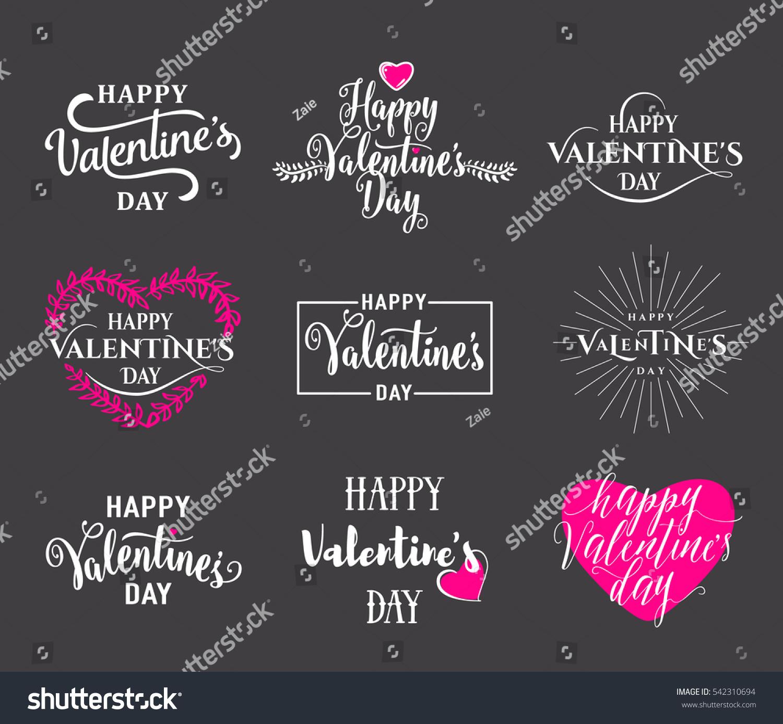 Vector Illustration Happy Valentines Day Typography Stock ...