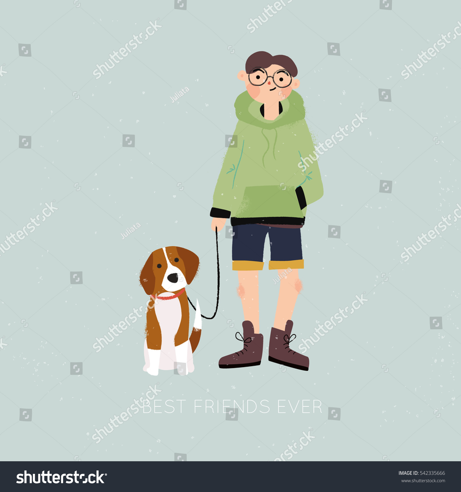 Teenage boy with a beagle puppy Cartoon vector illustration