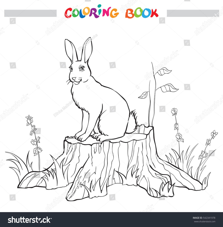 coloring book rabbit on stump flower stock vector 542341978