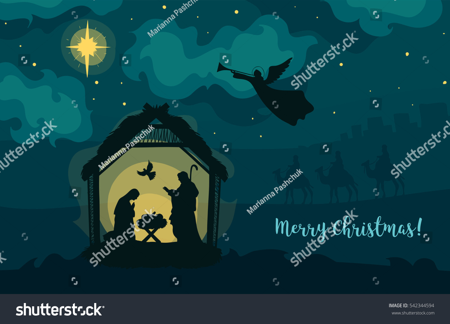 Greeting Card Traditional Christian Christmas Nativity Stock Vector
