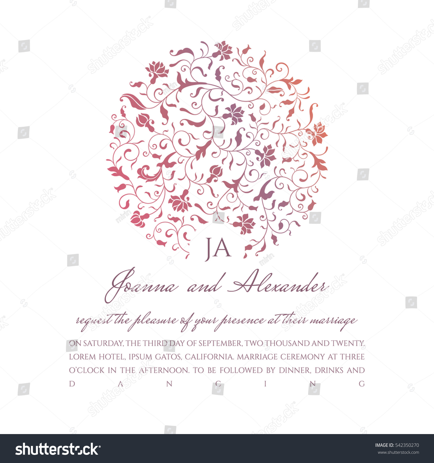 Invite Sample Circle Floral Pattern Bright Stock Vector 542350270 ...