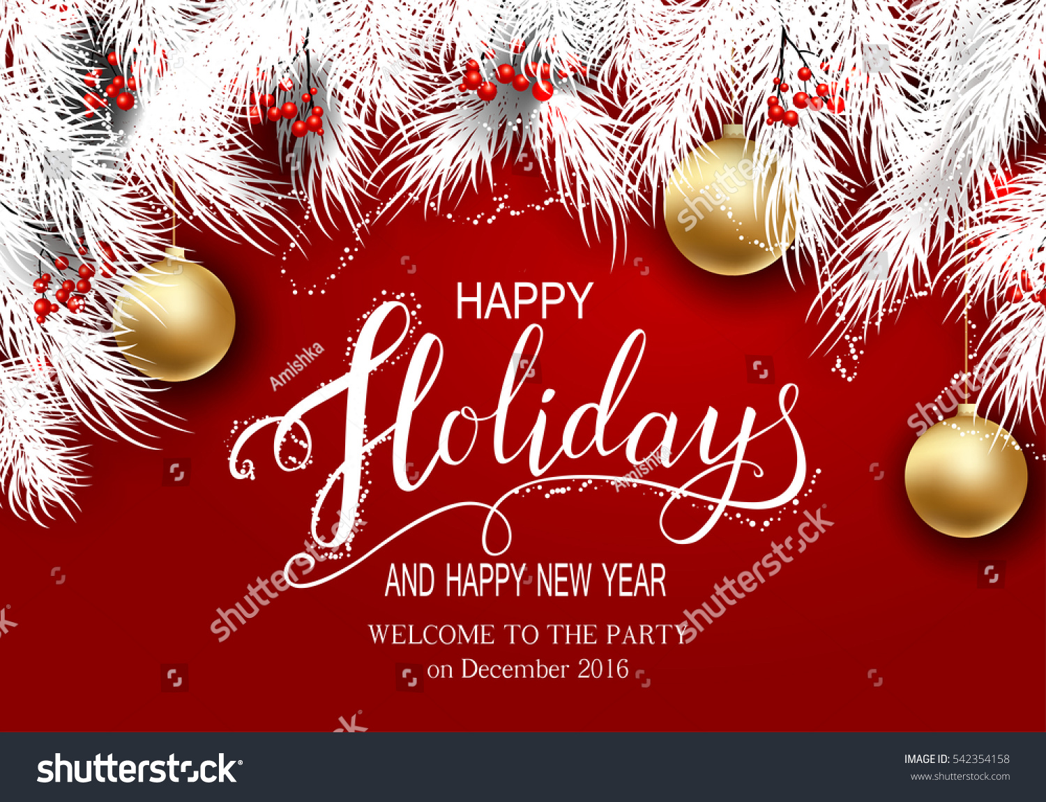 Happy Holidays Greeting Card Winter Season Stock Vector 542354158
