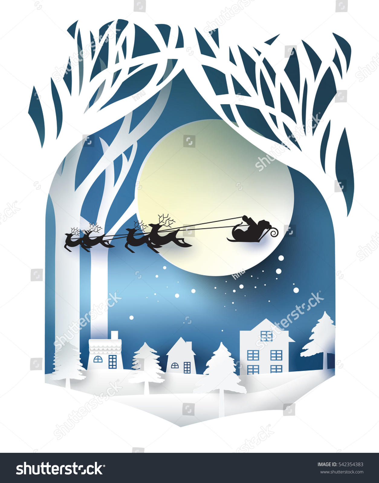 Paper art landscape christmas happy new stock vector for Interior decoration for new year