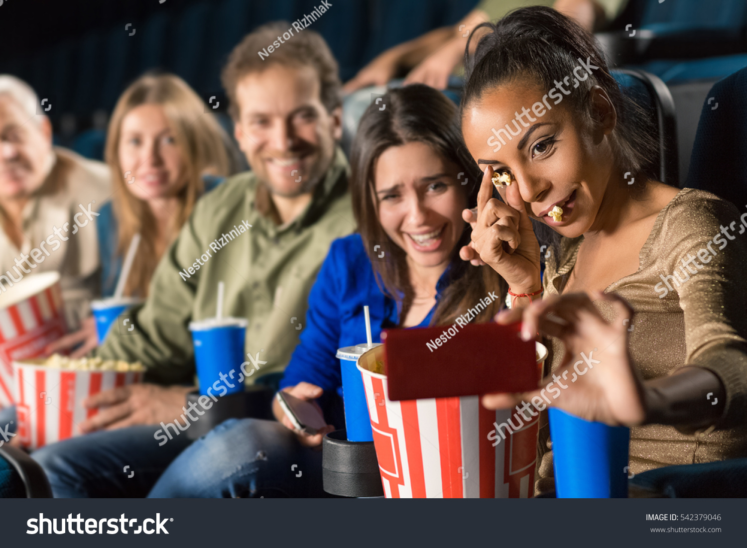 fun friends group multiethnic mature people stock photo (royalty