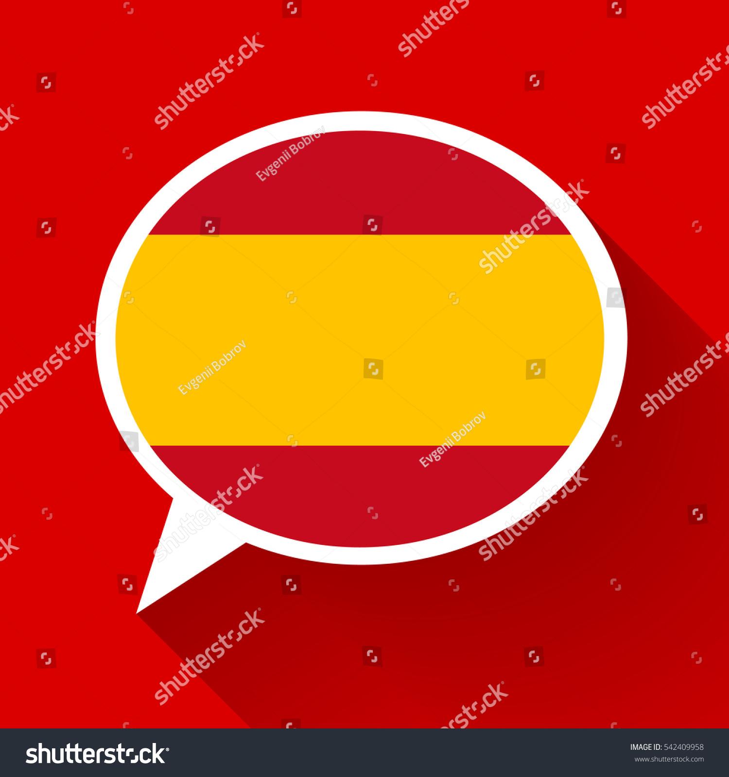 white speech bubble spain flag long stock vector 542409958