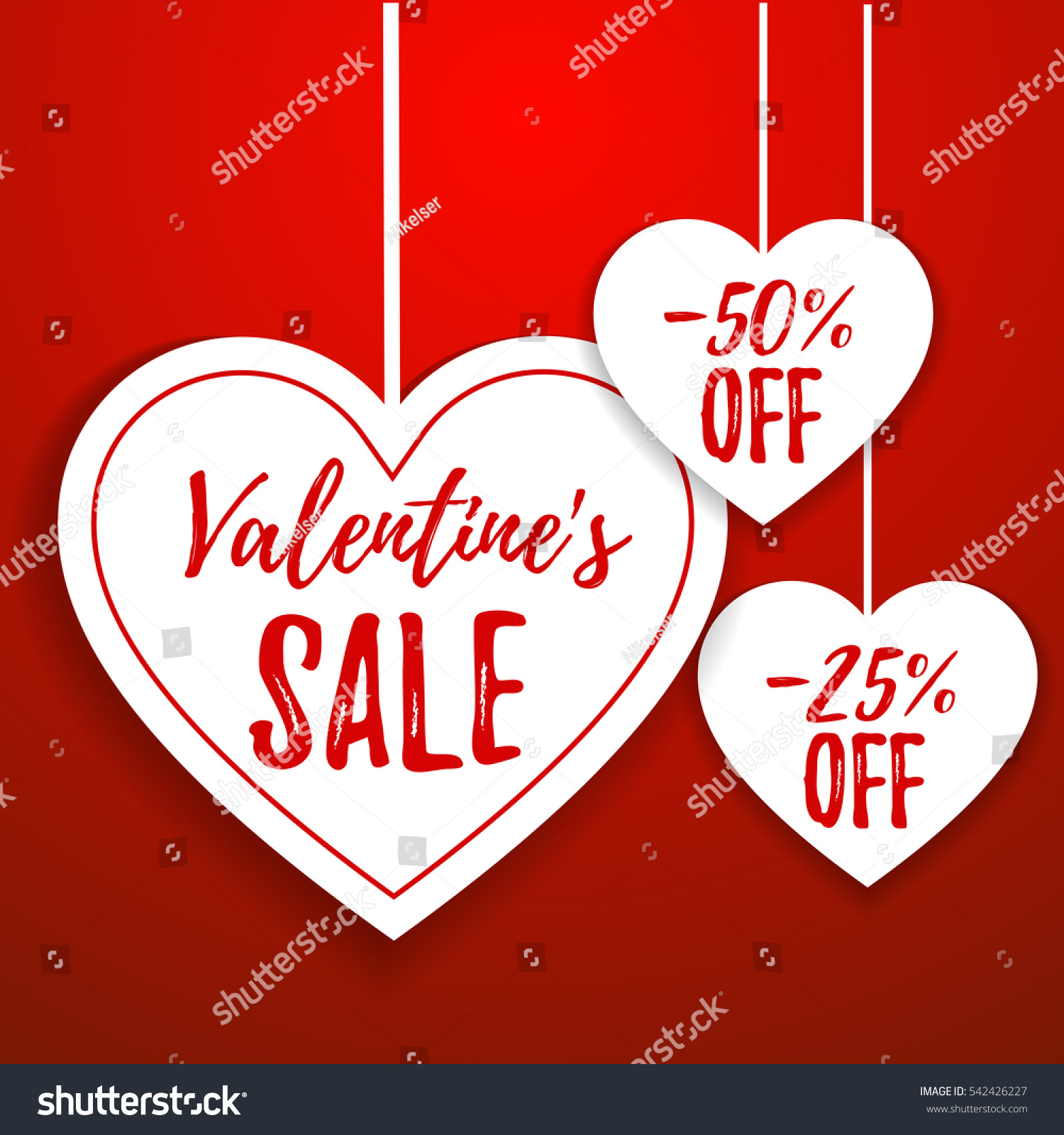 valentines day sale offer banner template red heart with lettering isolated on red - Valentine Sale