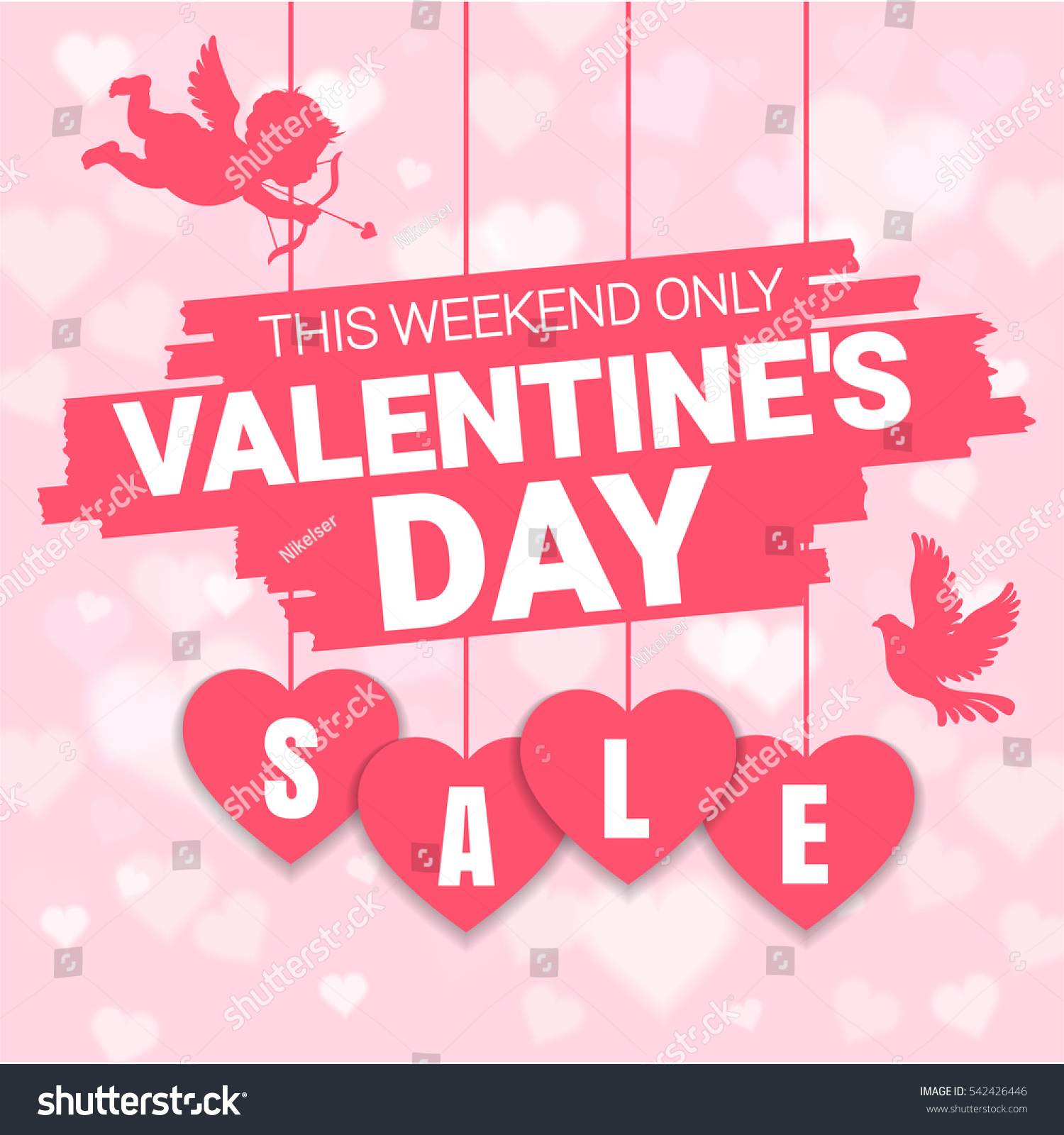 Valentines Day Sale Offer Banner Template Stock Vector ...