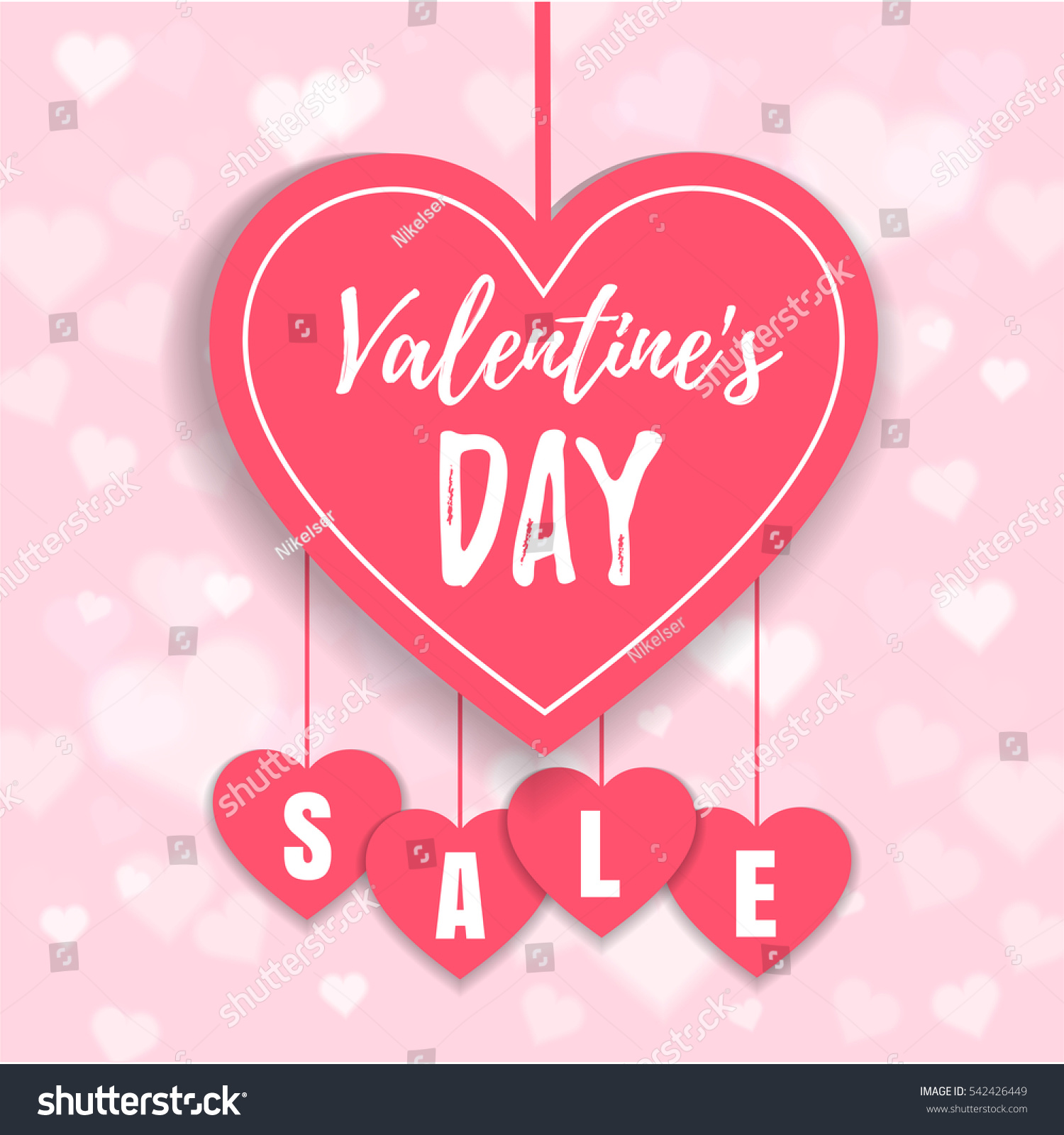 Valentineu0027s Day Sale Offer, Banner Template. Pink Heart With Lettering,  Isolated On Pink