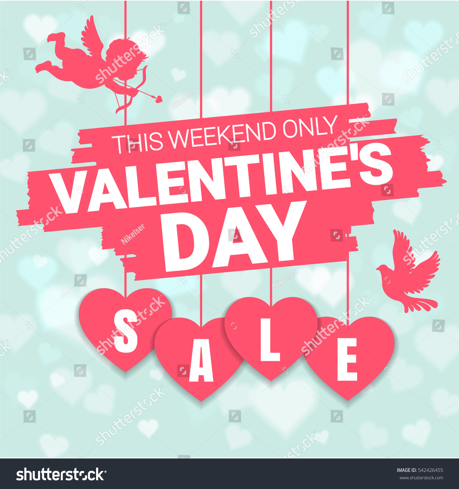 valentines day sale offer banner template stock vector 542426455