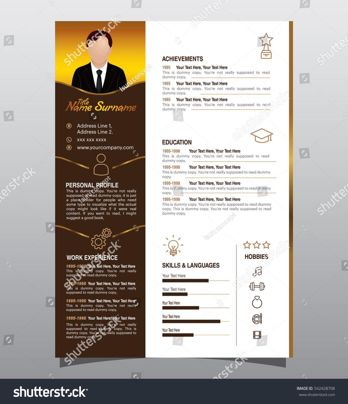 vector mini st cv resume design dark stock vector  vector mini st cv resume design dark color version