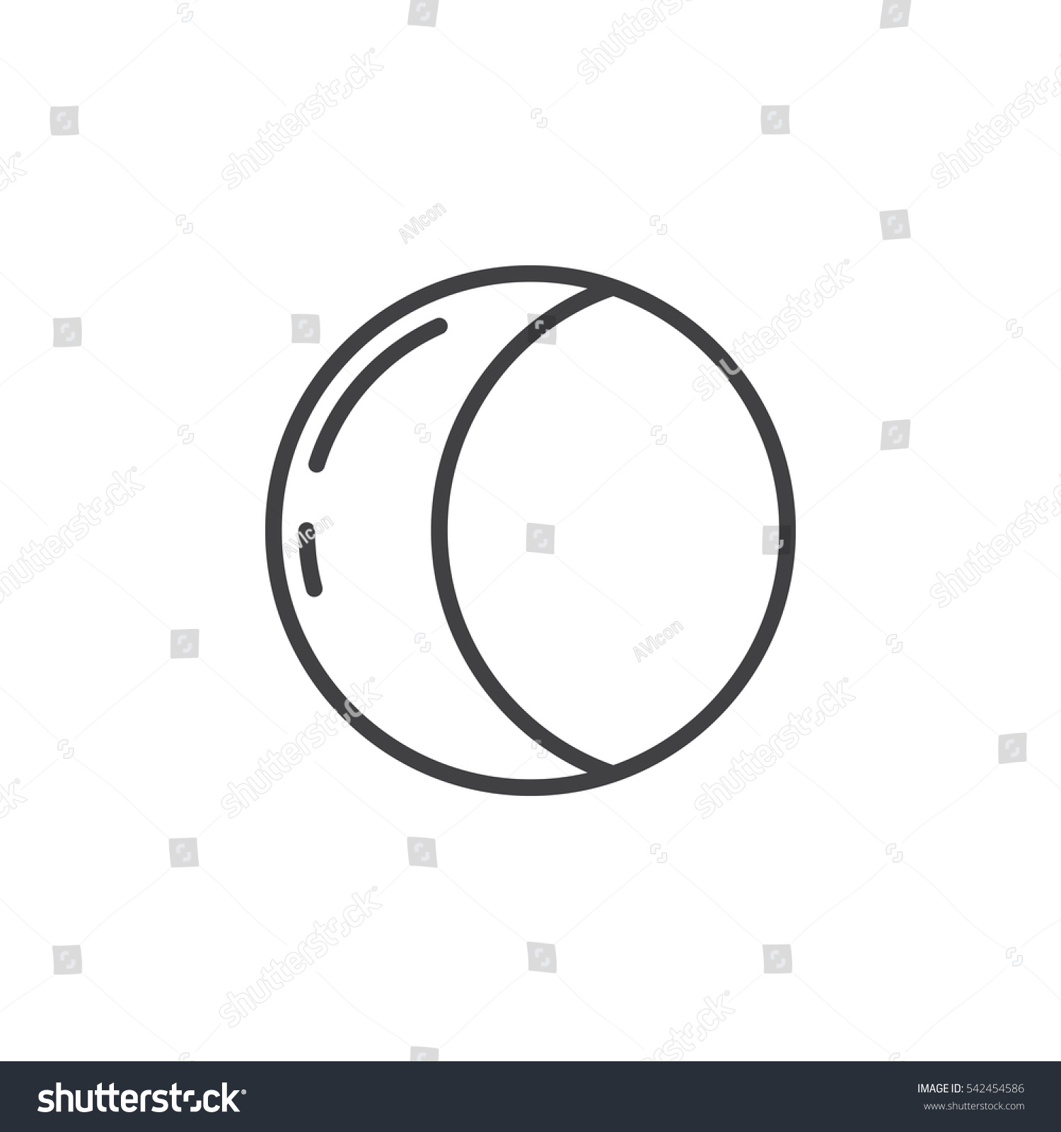 Half Moon Line Icon Outline Vector Stock Vector Royalty Free