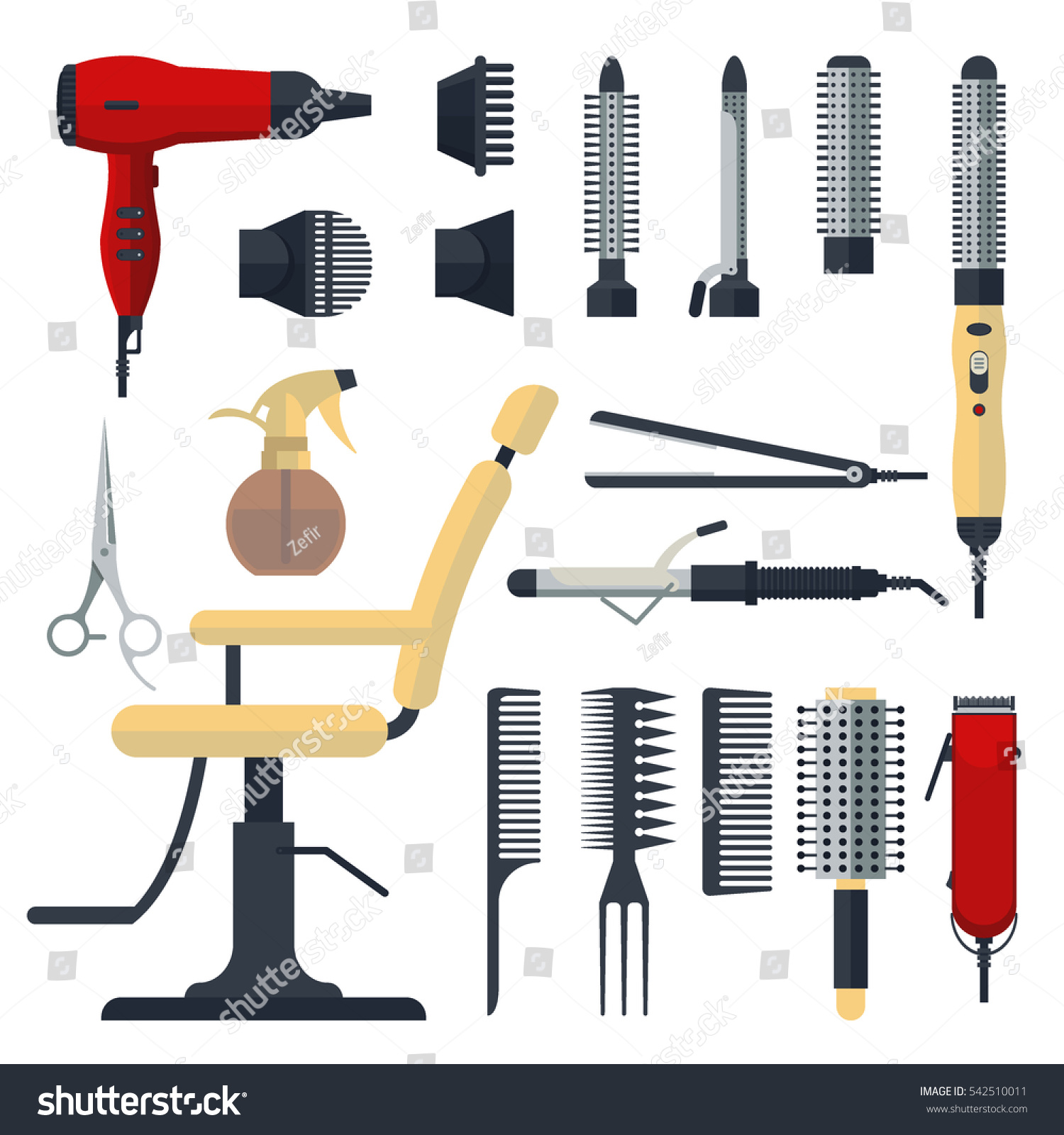 set hairdresser objects flat style isolated stock vector 542510011 shutterstock. Black Bedroom Furniture Sets. Home Design Ideas