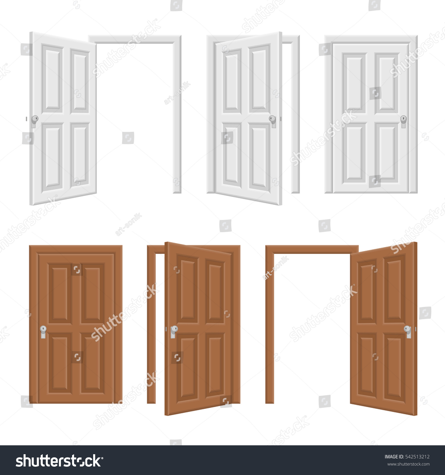 Open door closed door - Open And Closed Brown And White Wooden Door Concept Realistic Vector Illustration Of Opened And