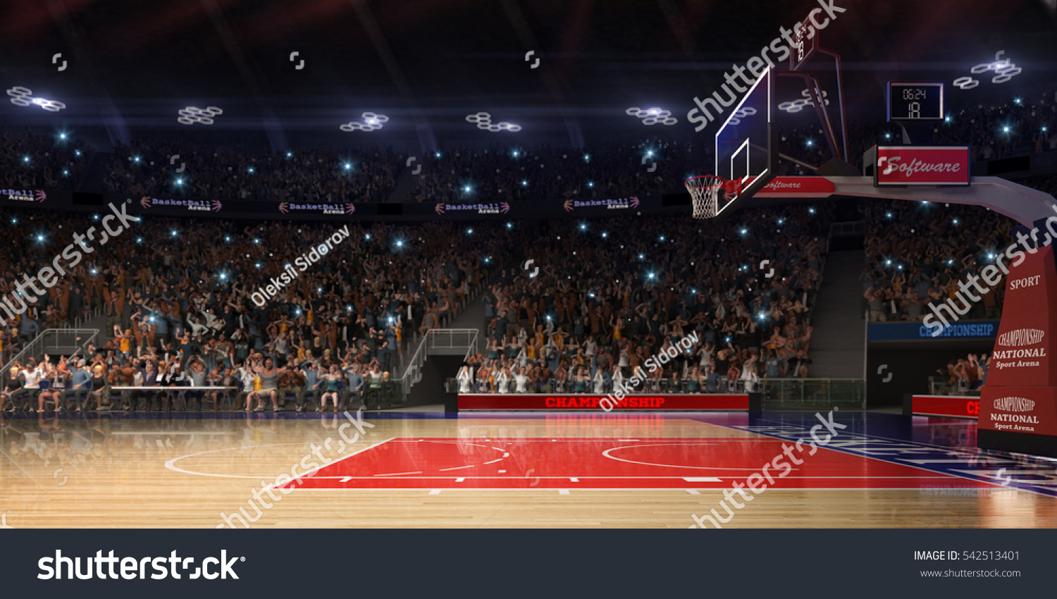 Basketball court people fan sport arenaphotoreal stock for Cheapest way to make a basketball court