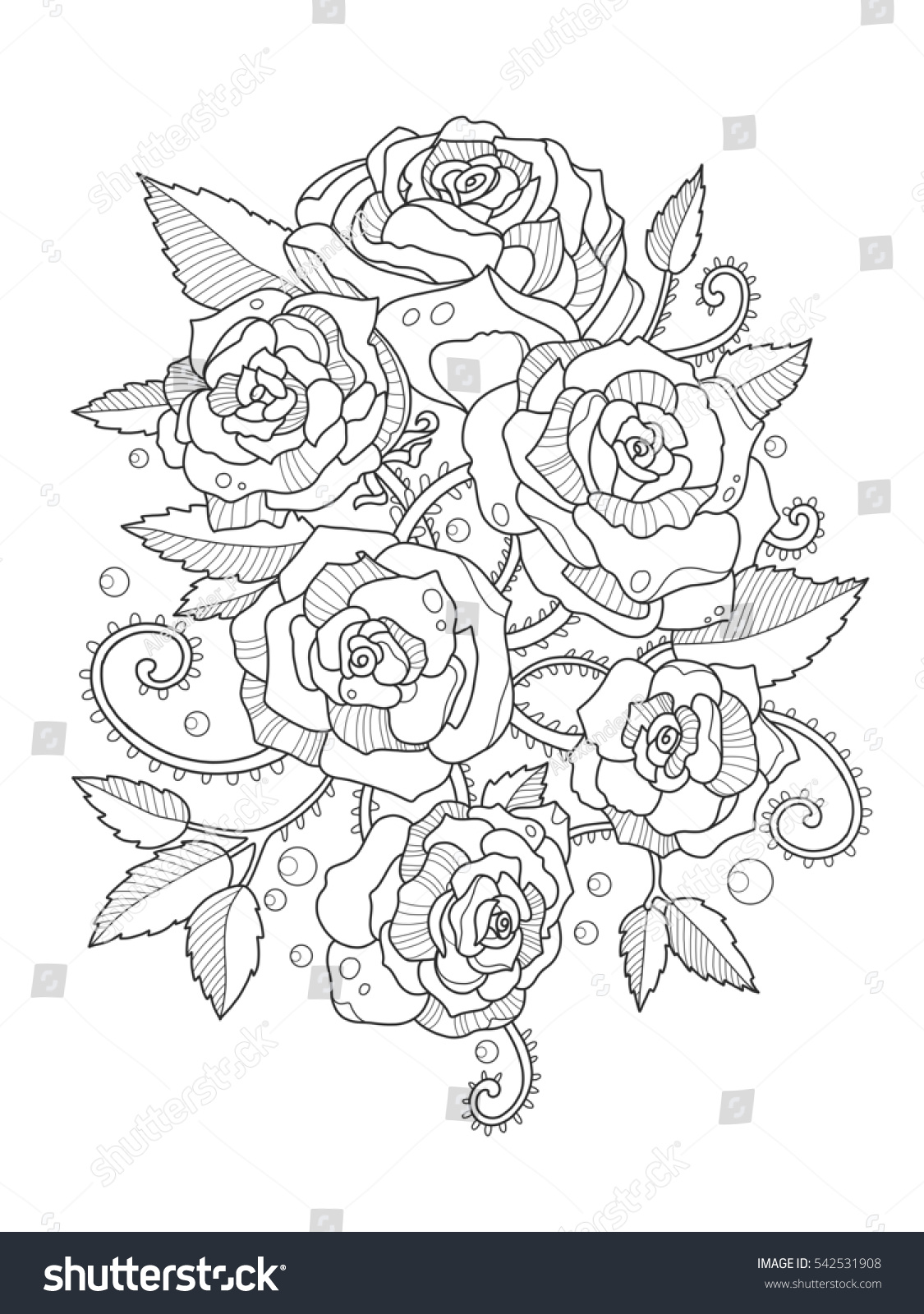 Anti stress colouring book asda - Rose Flower Coloring Book For Adults Raster Illustration Anti Stress Coloring For Adult