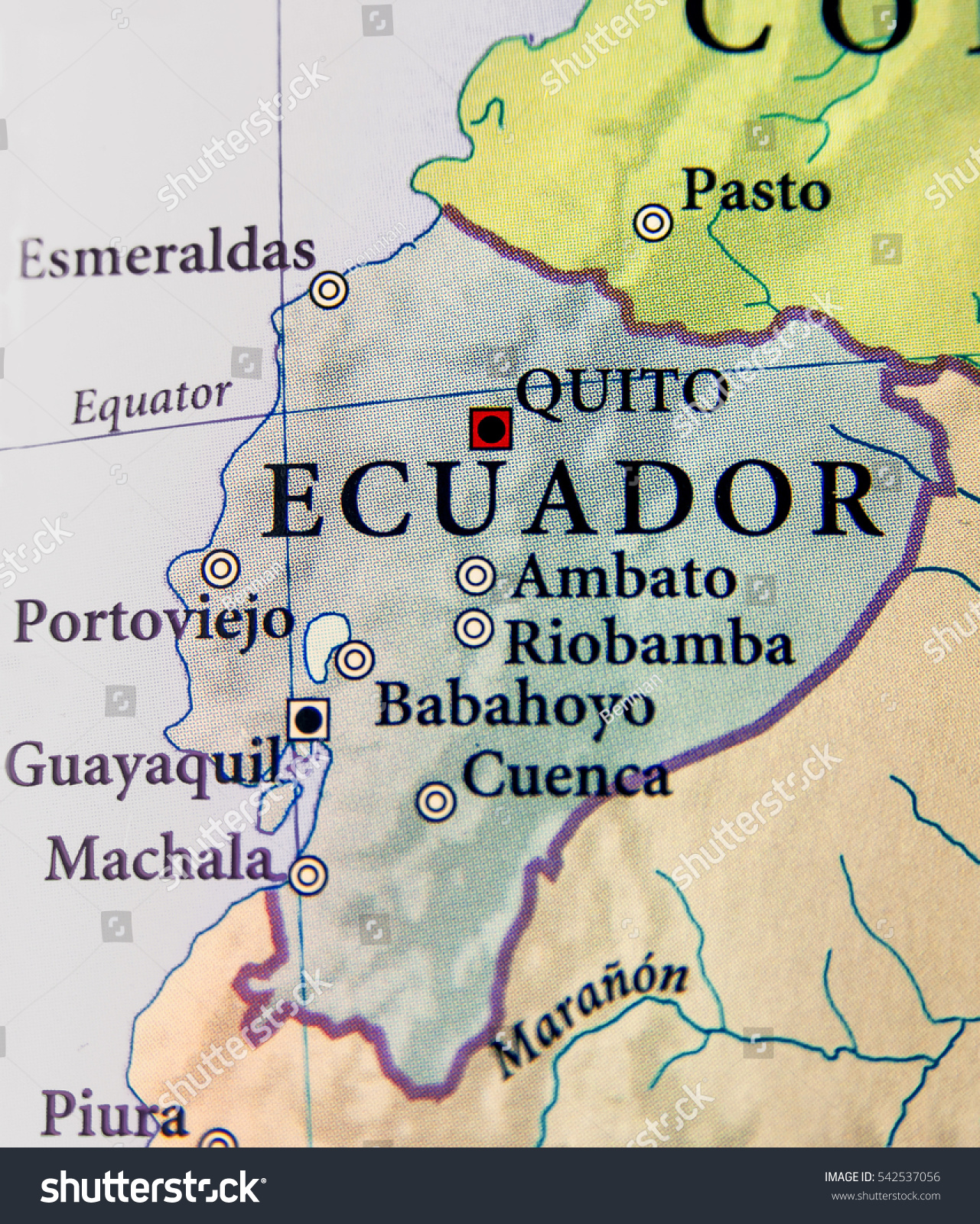 Geographic Map Ecuador Countries Important Cities Stock Photo (Edit on