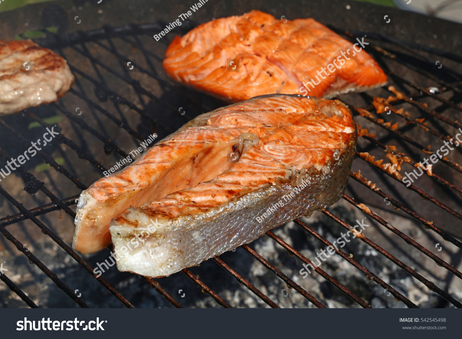 One grilled salmon fish steak barbecue stock photo for Bbq fish grill