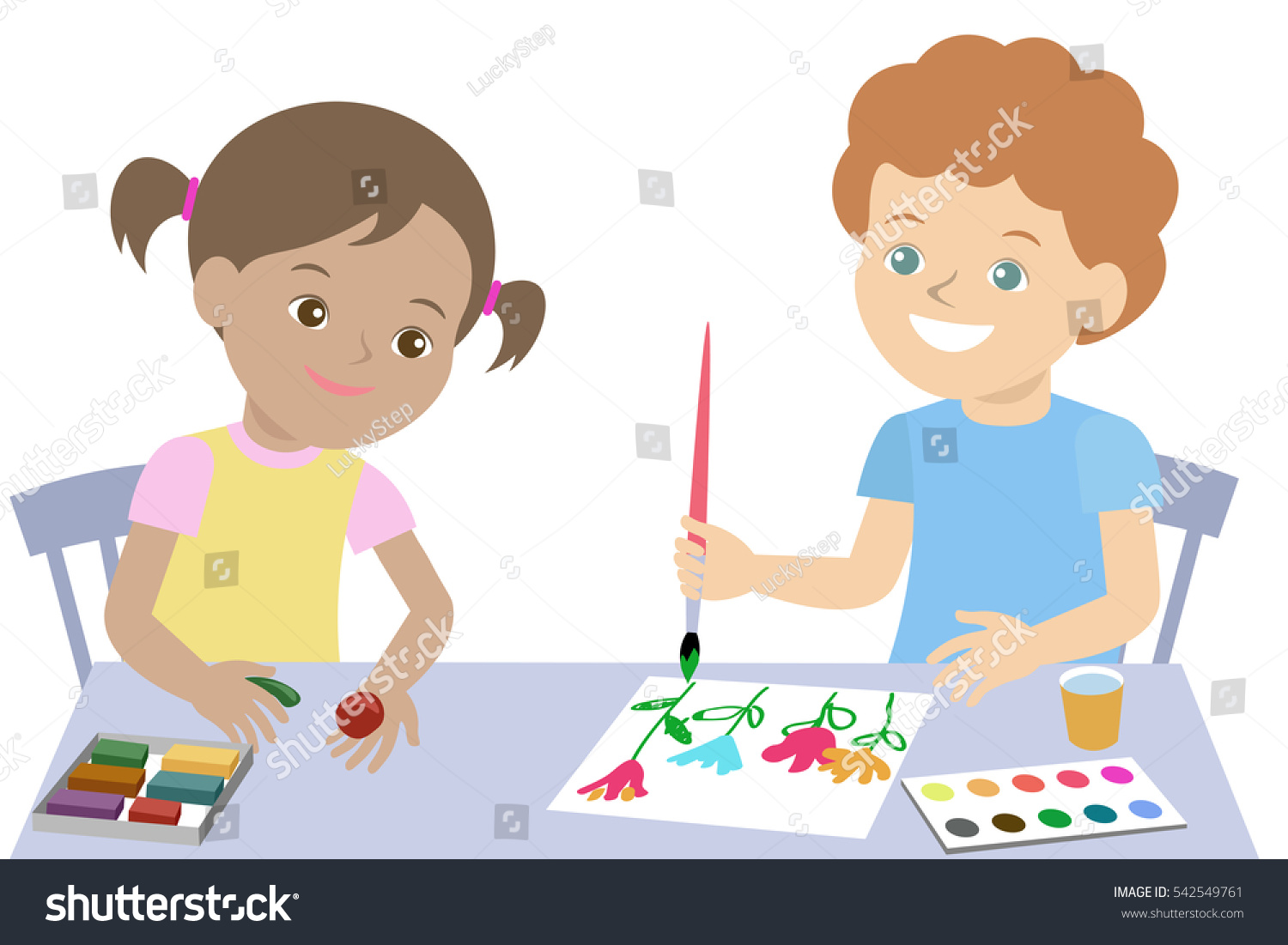 happy creative kids children drawing paint and mold from plasticine kindergarten art center lesson pupils - Pictures To Paint For Children