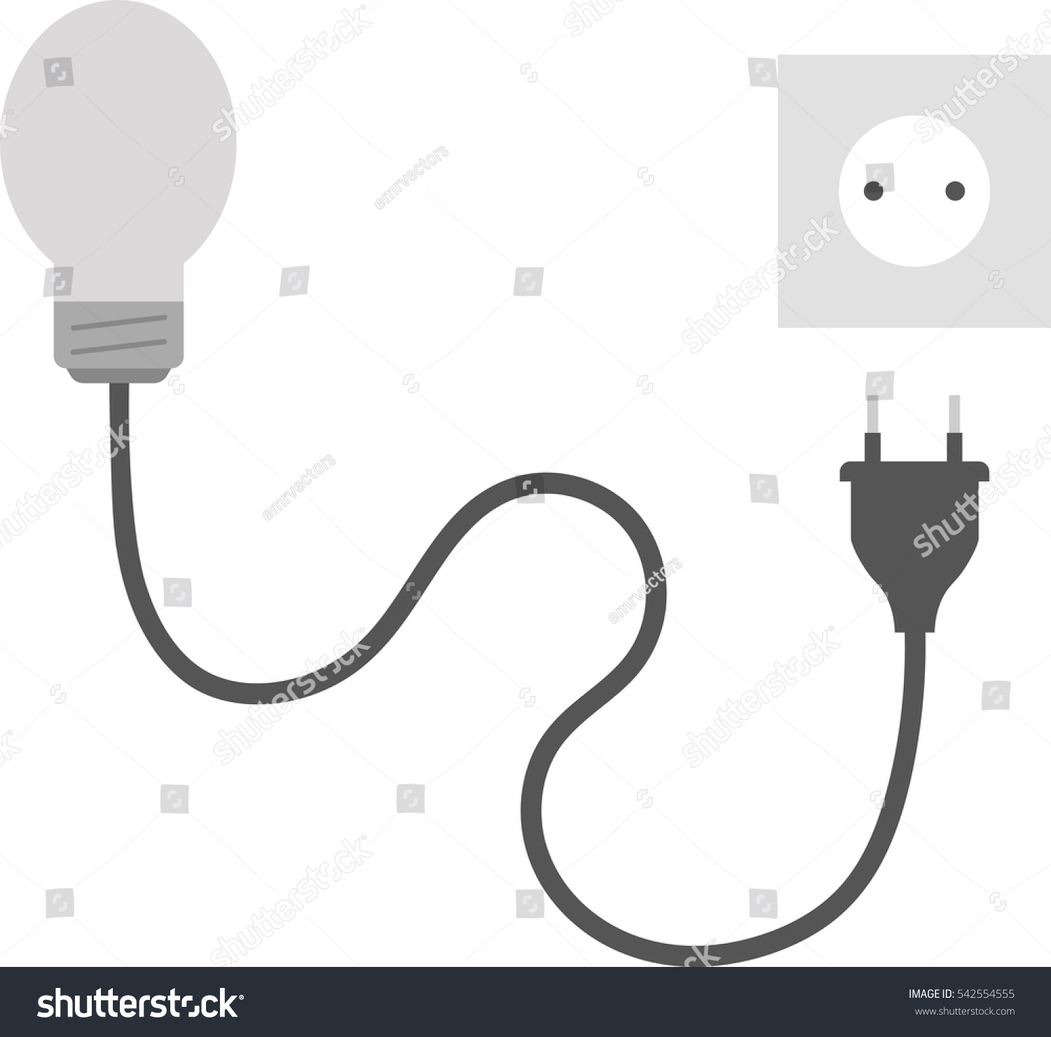 Vector Grey Light Bulb With Wire Electrical Plug And Outlet